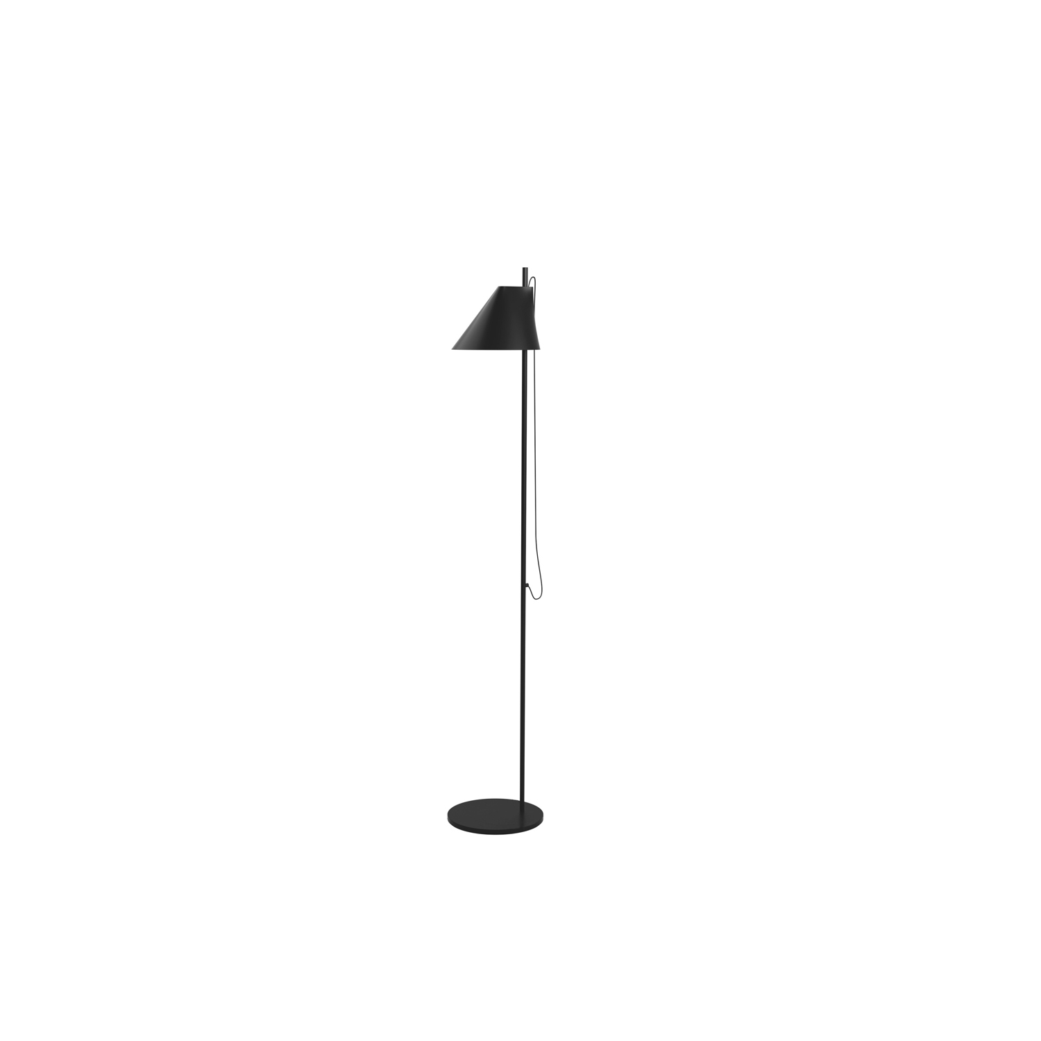 YUH Floor Light - The fixture primarily provides direct glare-free downward directed light. The angle of the shade can be adjusted to optimize light distribution. A slim opening in the top of the shade provides soft, ambient upward illumination. A mechanical system provides great freedom of movement, so the light can always be set in the ideal position in the workspace, living room etc. Build-in LED technology provides a high quality of light with stepless dimming at 15 to 100%. Timer function to automatically turn off the light after amount of time, selectable between off/4 hours/8 hours. Function to set a fixed light level each time the lamp is connected to main power. In the upper part of the tube a button acts as switch and dimmer. | Matter of Stuff