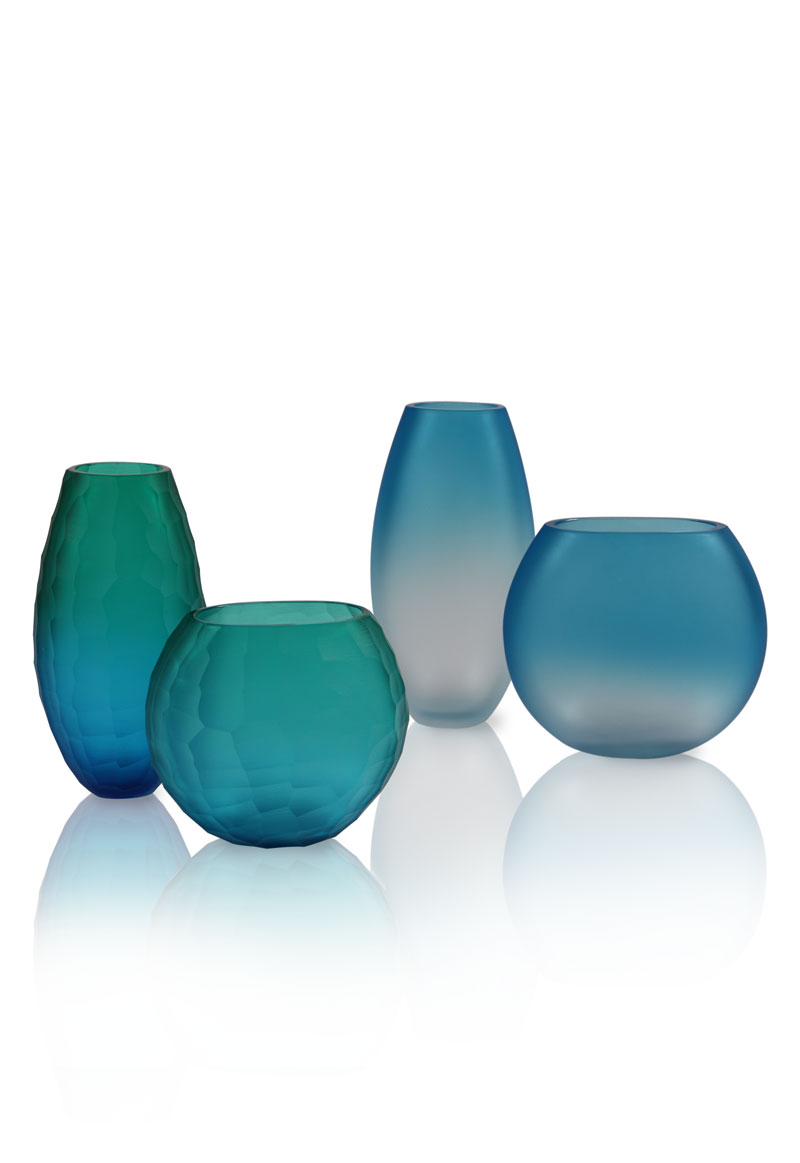 Segretissimi Battuti - <p>Cut glass vases and satin glass vases in shaded colours</p> <p>Price is for each set consisting of a small and large vase.</p>  | Matter of Stuff