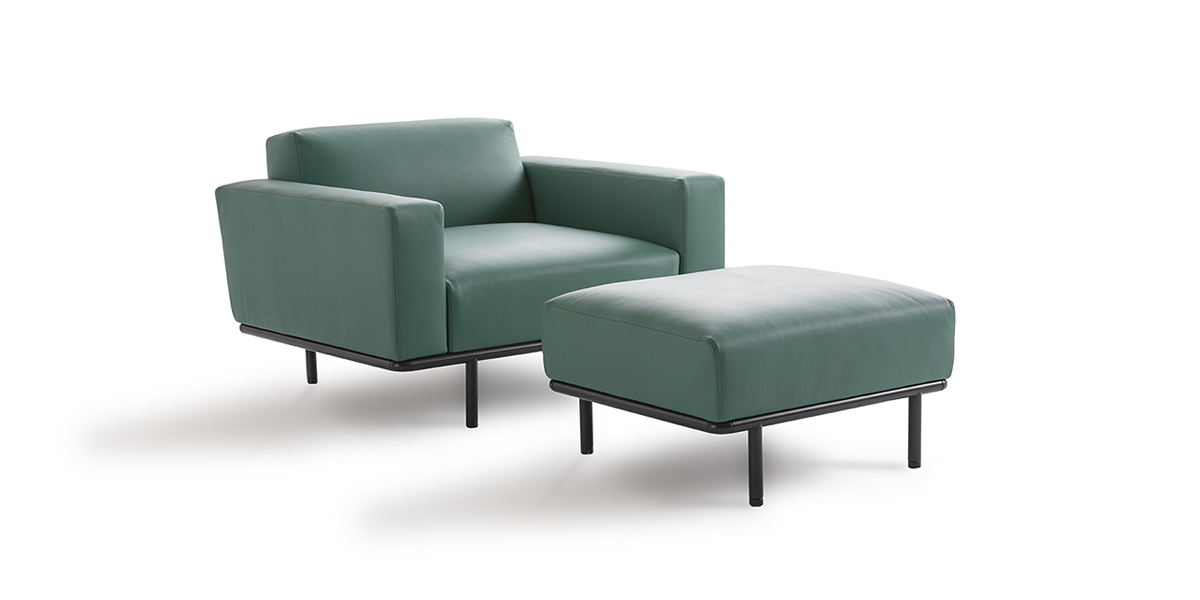 Cap Ferrat Pouf - Cap Ferrat sofa by Carlo Colombo is the emblem of a new collection marked by a rigorous and virtually atemporal design, capable of maintaining an airy appearance, even in large-scale dimensions.  Cap Ferrat sofas, like the homonymous armchairs, are made of multi-density polyurethane and fiber, a solution that guarantees noteworthy comfort. The multiple finishes of the slender metallic base and the ample upholstery selection (which includes fabric, leather and eco leather) allow for a highly customized collection that is equally versatile in appearance and destination. The light and minimal design – though undisputedly solid and resistant – makes Cap Ferrat sofa the ideal choice for domestic as well as high-traffic Contract settings.    Matter of Stuff