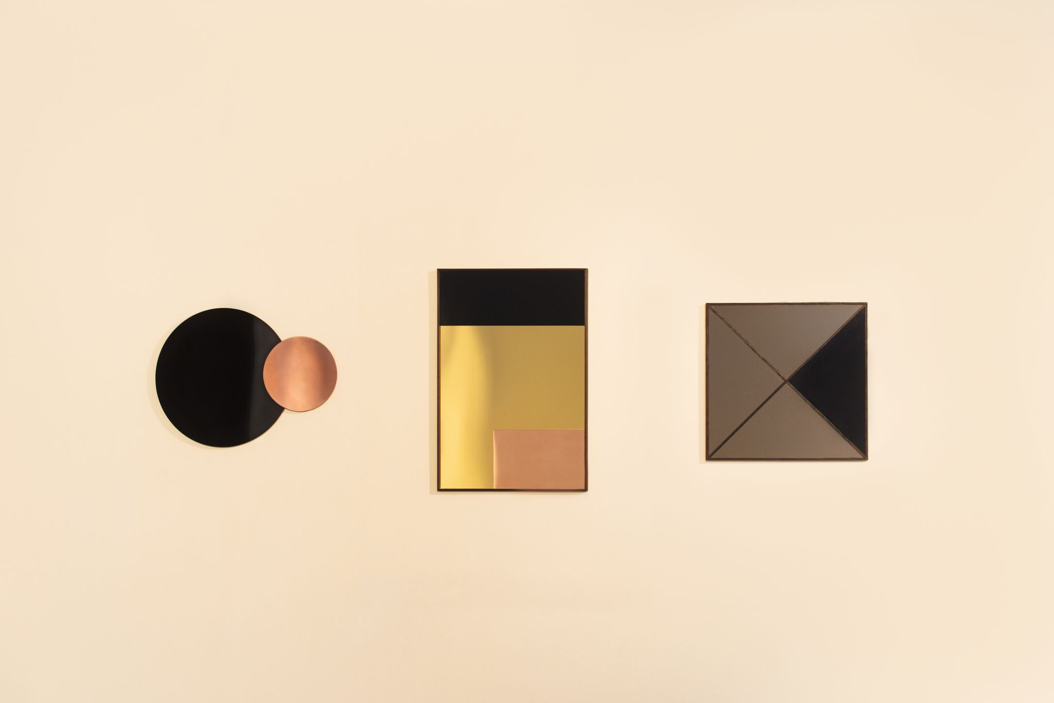 Rectangle Mirror - <p>The geometric design of the mirrors reference constructivist painting. Form is created by matching various shapes and by combining different proportions of geometry.<br /> I wanted my mirrors to display a rich harmony and simplicity of materiality. I used black acrylic, bronze acrylic mirror, gold acrylic mirror, polished copper to create the mirrored surfaces and ebonized wood for the frame. My intention for the frame was to have a strong linear quality. The rails of the frame were cut very thin to emphasize line.</p>  | Matter of Stuff
