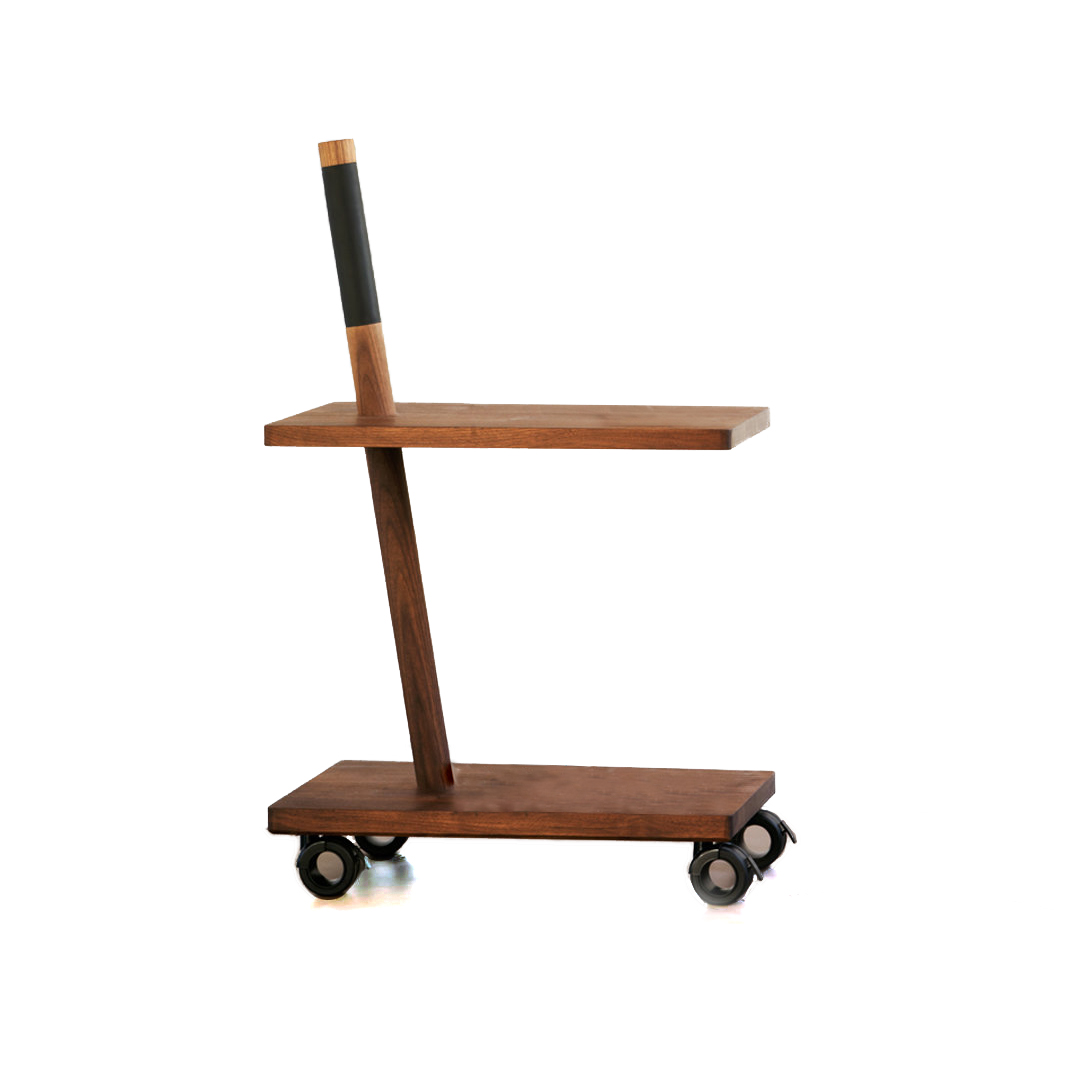 Quac Trolley - Handmade trolley in solid black walnut made by three elements; two shelves and one pole which are easily assembled. A metal core reinforces the frame. Placemat and handle in frosted leather easy to clean.