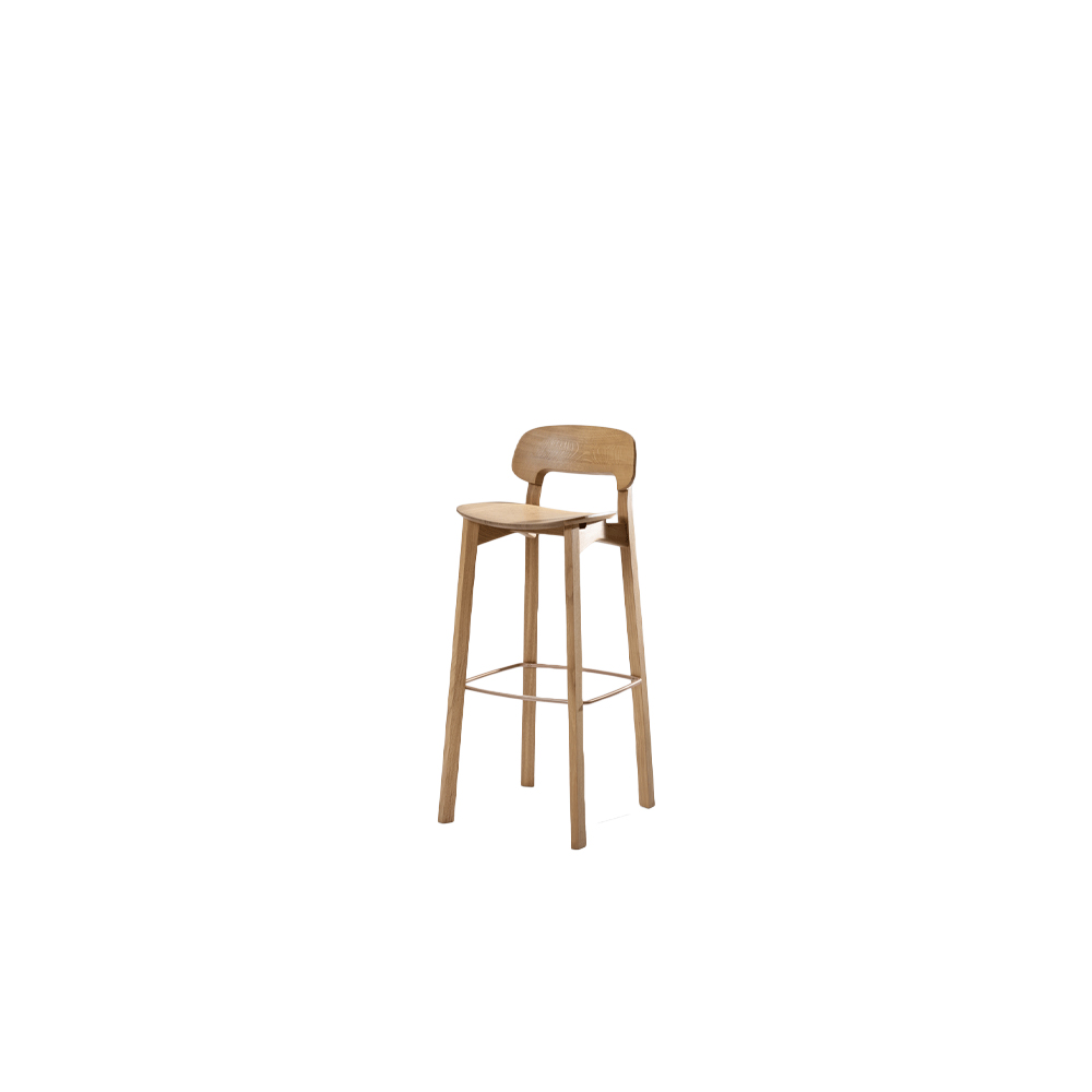 Nonoto Bar Backrest Stool - NONOTO BAR – the modulated bar chair. The NONOTO chair family is complemented with a new barstool: NONOTO BAR. The unique junction between frame and backrest lends the stool a sculptural character. A ring serves as a footrest while also providing additional stability and adding another finish: both the walnut and the graphite black stain design come with a matt black powder-coated footrest. The natural oak version and all other stains feature a rosegold coated footrest.  Nonoto Bar backrest stool is available in oiled oak, colour stained oak and oiled American walnut. Available with a wooden or upholstered seat.  For colour stained oak and upholstery options, please refer to the catalogue. | Matter of Stuff