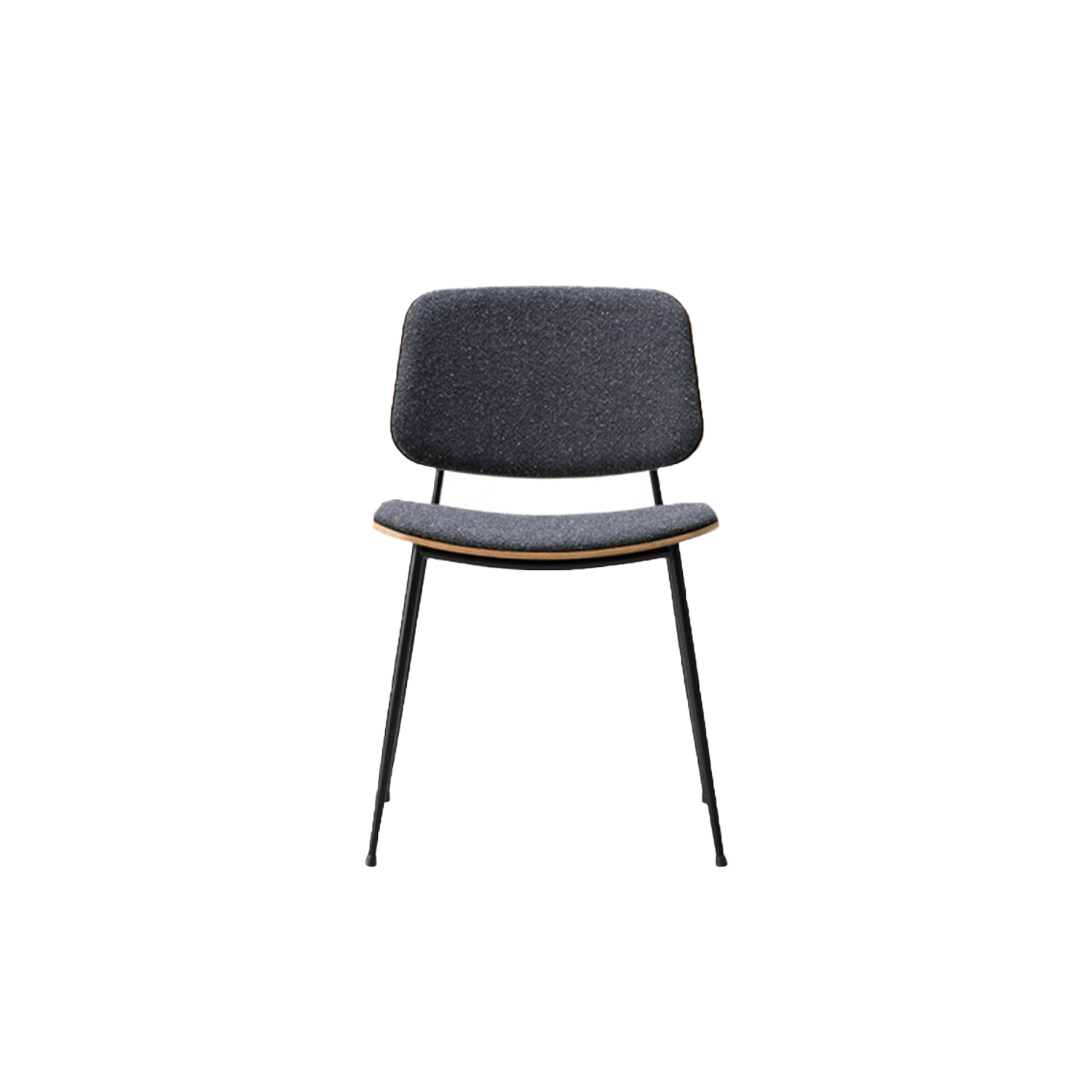 Soborg Metal Base Chair Seat and Back Upholstered - In 1952 Mogensen built onto the Søborg series with a steel-framed version, a design that he viewed as a reflection on international modernism. The generous back and seat with optional upholstery provides for many hours of use.  In 1950, Børge Mogensen introduced the prototype of the Søborg Chair. His fusion of functionalism, expertise in cabinetmaking and use of new production techniques led to a supremely simple chair that could be manufactured industrially.   Merging his signature love of solid wood with his new-found passion for plywood shells, Mogensen crafted the Søborg Chair with soft rounded corners and gentle lines in a timeless design that appears light yet solid, with an ample-sized seat and back to ensure endless hours of comfort. It is a handcrafted approach to an industrial dilemma that highlights the textural properties of solid wood, plywood and later steel, in a subsequent version for the frame.   The Søborg Chair remains a favourite for its simple, unimposing presence. A chair that's equally at home in any modern environment – in restaurants, working spaces, public areas or any socially engaging space. | Matter of Stuff