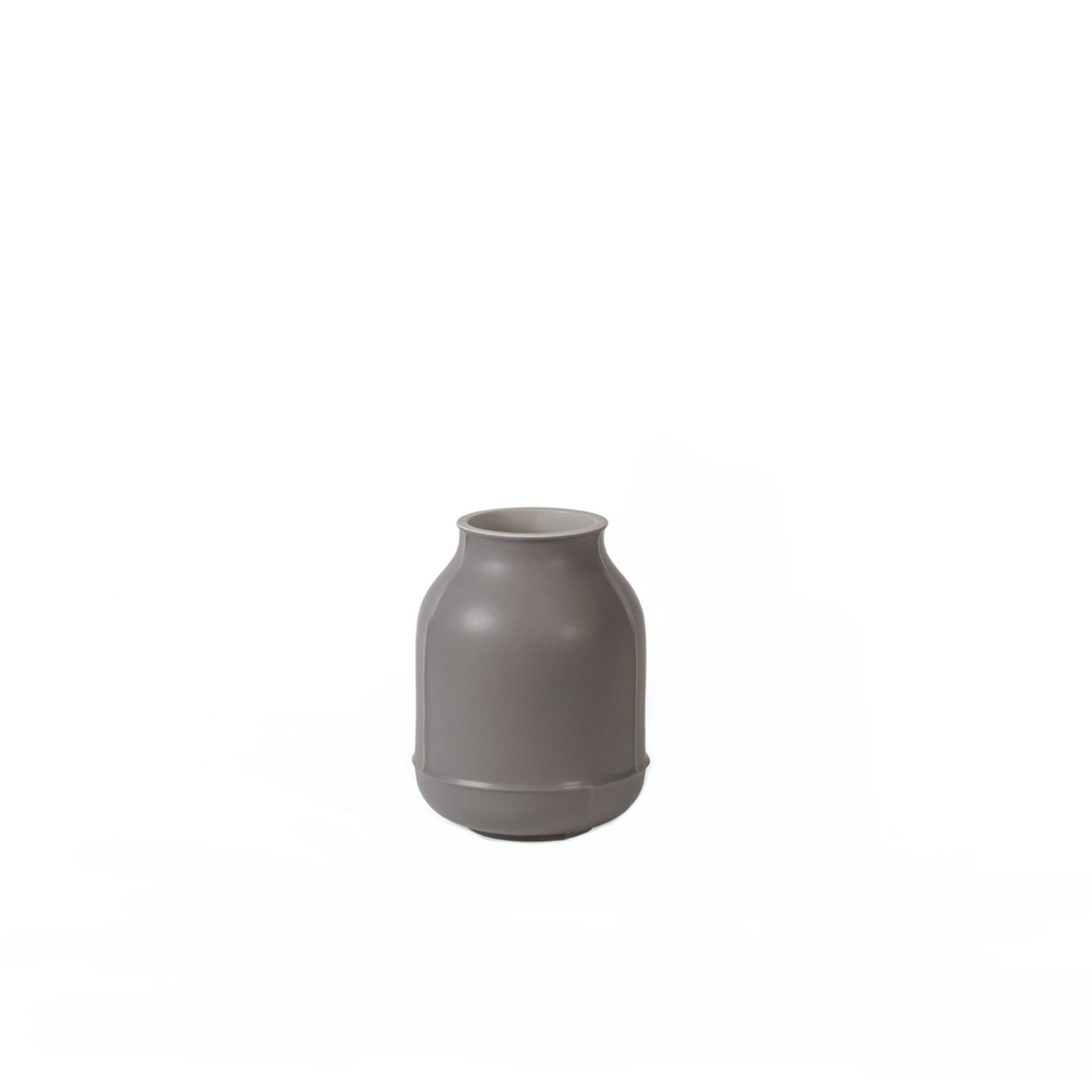 Small Grey Barrel Vase - Made of white clay, this refined vase of the Seams Collection is inspired by the archetypal jar and bottle silhouettes of the classic ceramic tradition, reinterpreted in a modern key by designer Benjamin Hubert. The defining feature of the pieces is represented by the decorative seam lines that were intentionally left after the mold casting was removed to create a distinctive aesthetic detail. Featuring a rounded base and small mouth, this vase boasts a two-color matte glaze, gray on the outside and blue inside. | Matter of Stuff