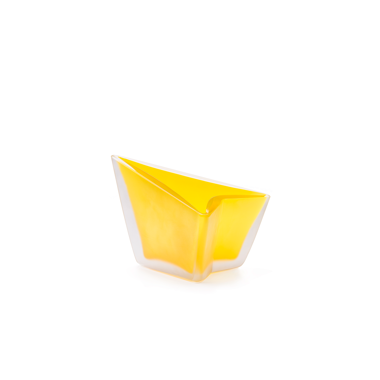 Freccia Small Vase - Designed by Alessandro Mendini, Freccia is a triangular base vase with an integral side which serves to give both direction and an arrow shape. The top is diagonal instead of horizontal, in order to obtain a dynamic form emphasized by the matt finish of the Murano blown glass. As with all Purho's products, Freccia is also available for customisation thanks to the colour variations of the colour chart.  Please enquire for colour options and customisation. | Matter of Stuff
