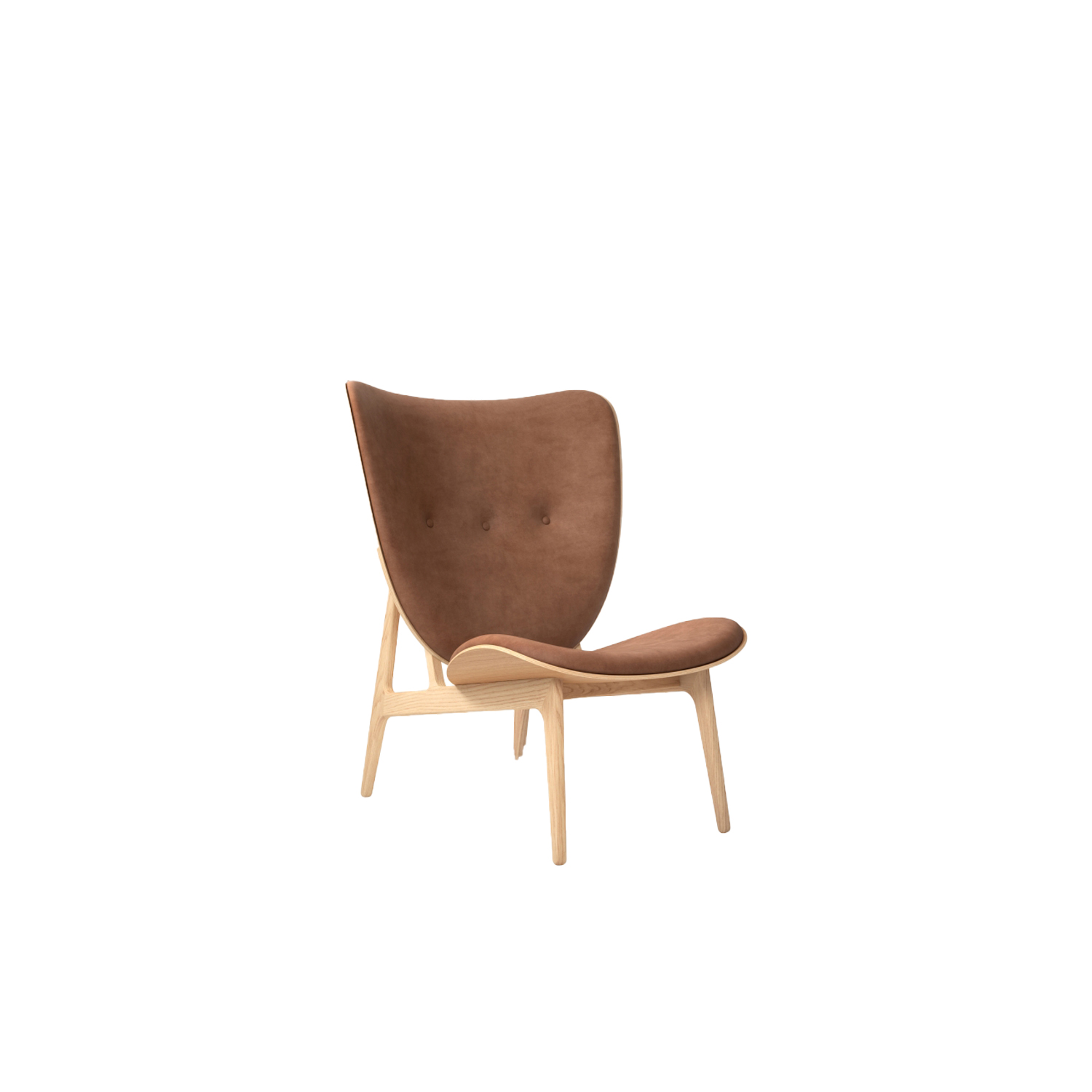 """Elephant Lounge Chair  - The Elephant Chair, designed by Kristian Sofus Hansen and Tommy Hyldahl, is a modern interpretation of Scandinavian minimalism combined with Japanese aesthetics. The design is inspired by Danish upholstered chairs of the 1950's, while drawing visible characteristics from the already iconic Mammoth Chair. The result is a light and elegant lounge chair where the Elephant ear shaped back gently curves around the body providing superior comfort.  The Elephant chair is hand-crafted with a solid oak wood frame. The chair comes in four frame variations; Natural, Dark Stained, Black and Smoked, and can be upholstered with leather, wool and sheepskin.   The seat and back are made from the highest quality compression molded oak veneer shells. The two shells are pressed in the same press mold, and surround the body in a light soft curve. The legs are designed as one single profile without any visible joints. This enriches the experience of the material strength and exchange between the light and heavy dimensions; """"elegant and simple but sturdy without being clumsy"""". 