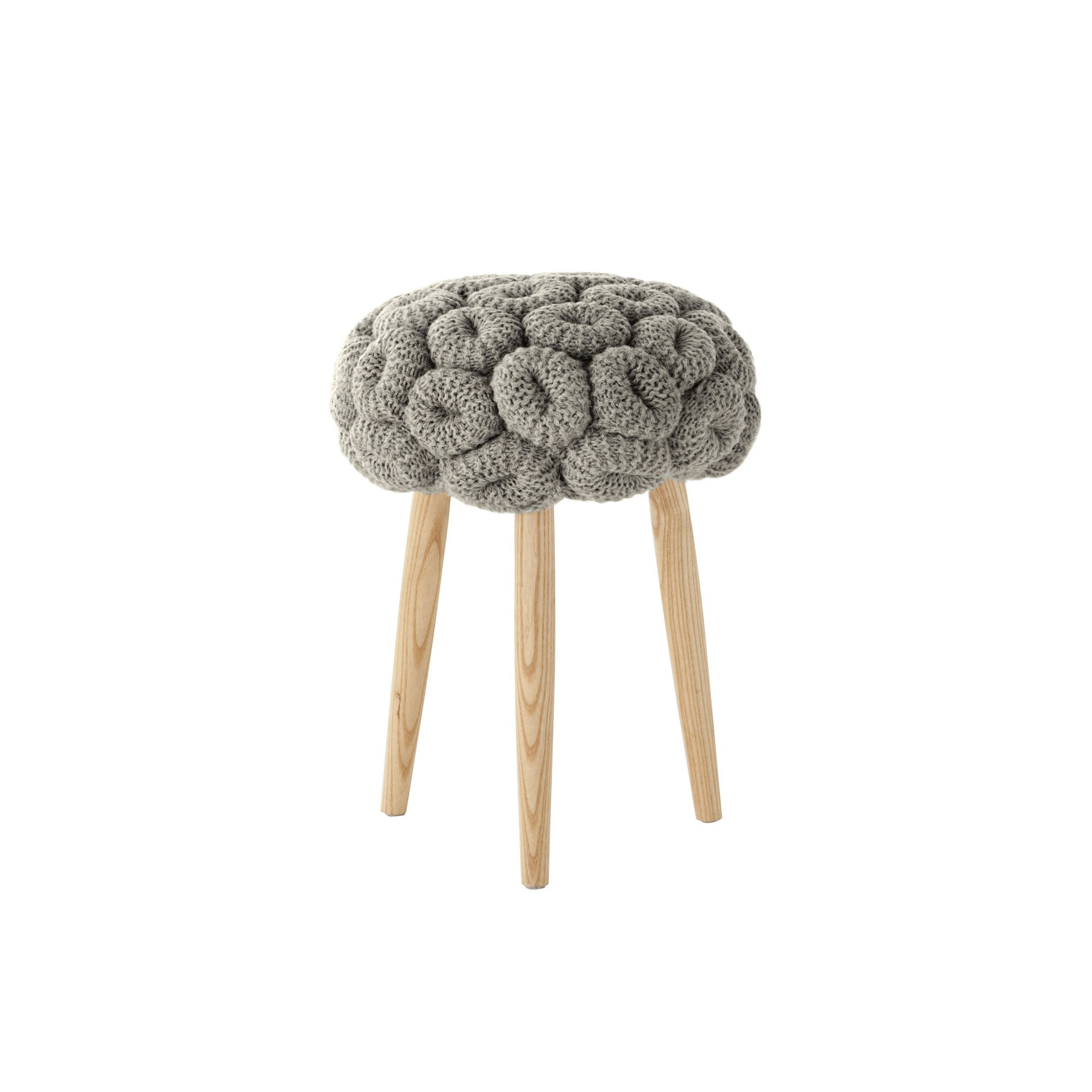 Knitted Grey Stool - Craft, with a touch of magic. Inspired by real stitches and woven yarns, these knitted stools magnify the concept and make it into a completely new item: a comfy seat. This has been hand knitted and due to the handmade nature of the GAN product, slight variations in size, colour, finish are normal.   | Matter of Stuff
