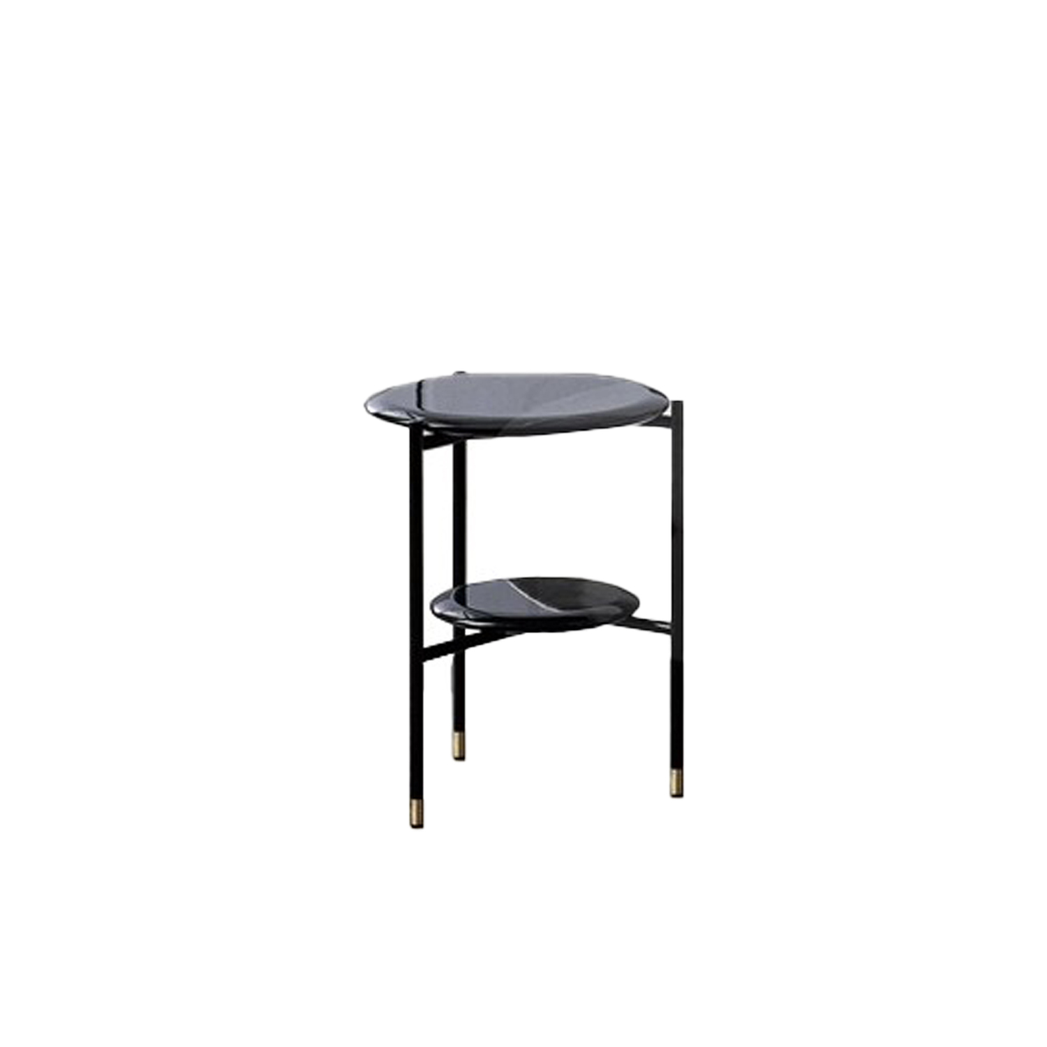 Adrian Round 35R Low Table - Collection of occasional tables featuring smooth edged tops, almost visually floating on a slim frame.  Realized in various dimensions, the Adrian coffee tables are available with tops in matt or glossy lacquer or in the different marble kinds. The frame in tubular metal can be entirely in bronzed brass or black – also completed by refined bronzed brass tips. | Matter of Stuff
