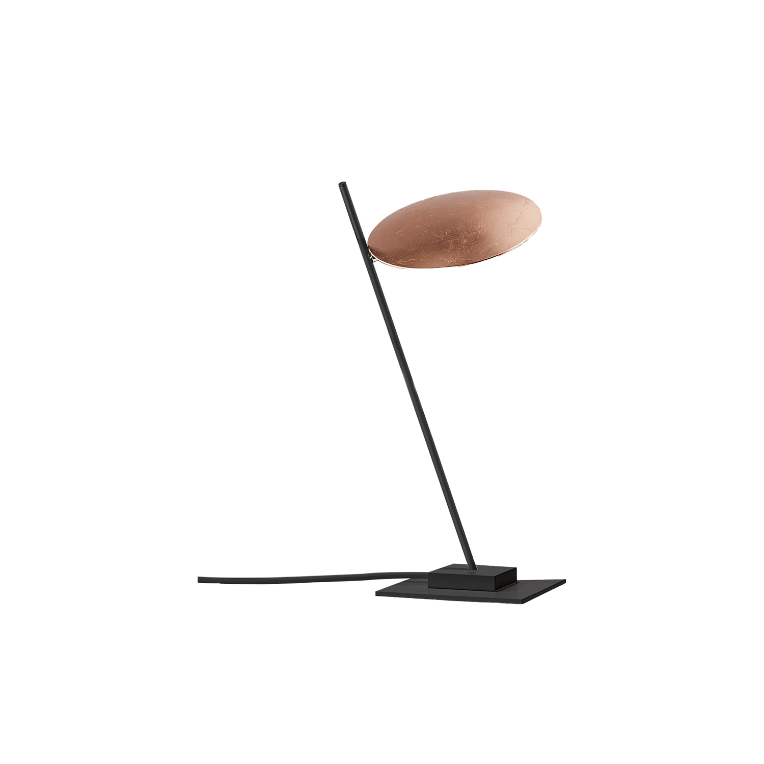 Lederam T1 Table Lamp - Lederam embodies the accuracy of the motion required to draw a line. The warm, softly coloured disks surround a LED module with an ultra-flat shape, which creates thin lamps and suspended forms with curved, sinuous lines. | Matter of Stuff