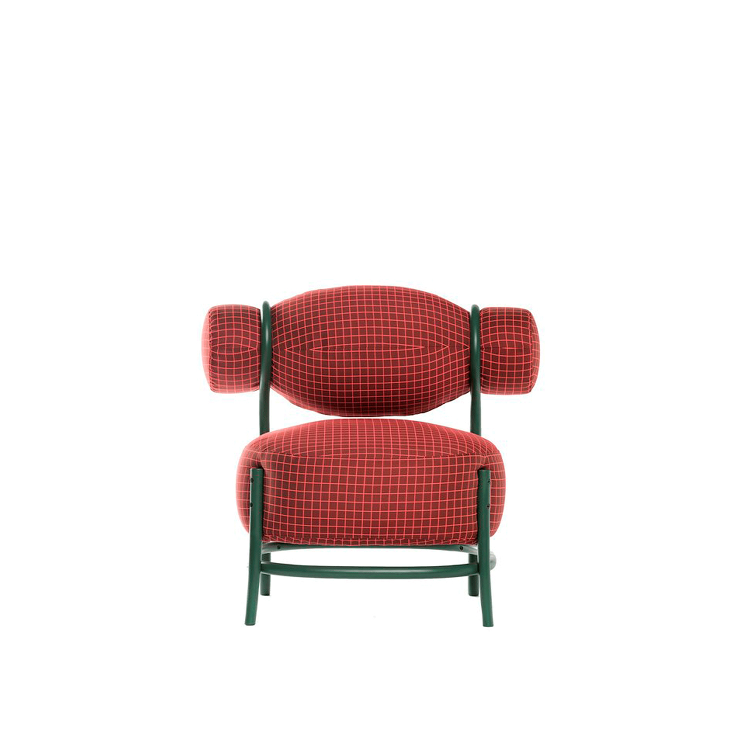 Chignon Lounge Chair - This stunning accent chair is modern and playful with elegant lightness in the proportions and a bold chromatic choice. The thick seat and backrest are covered with a vivid red fabric and enclosed in a wooden structure with details in curled beechwood, a trademark of Viennese-style furniture. The result is a feminine and refined silhouette that poetically evokes the shape of a hairdo. An elegant piece of timeless allure, this chair is ideal for both residential and public places.