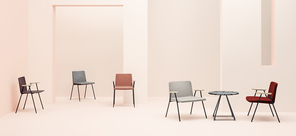 Osaka Metal Wood Armchair - Osaka is a collection of seatings with a strong graphic impact whose construction elements remind the linear features of an ideogram. Osaka Metal armchair with ash plywood shell and steel rod sled frame Ø 11 mm. Armrests in ash wood. | Matter of Stuff