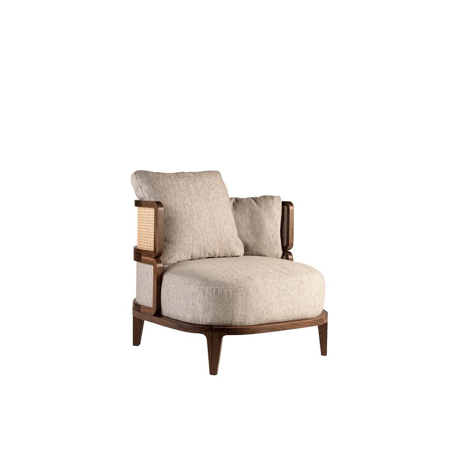 Promenade Lounge Chair - This lounge chair is a masterpiece of elegance and timeless allure. Ideal to be displayed in the middle of a room, thanks to its elaborate and visible wooden structure, this piece boasts a Canaletto walnut frame that envelopes the comfortable cushions in dawn and polyester. The back is further adorned with panels in the same upholstery of the cushions and with Viennese straw. | Matter of Stuff