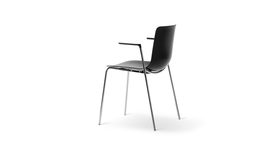 Pato 4 Leg Tube Base Armchair  - Pato is a carefully crafted multipurpose chair in eco-friendly polypropylene that can be used outdoors. The chair is available with a range of optional features including coupling. The chair can be tuned from basic to exclusive with optional upholstery.  Pato is a prime example of our focus on sustainability and protecting the environment, reflected in a chair that's 100% renewable and recyclable. All components can be incorporated into future furniture production, thus contributing to a circular economy by minimising the use of materials, resources, waste and pollution.   Merging traditional production methods with cutting-edge technology, Pato is a human-centric, highly versatile series of multi-purpose functional furniture that draws on our in-depth experience with materials, immaculate detailing and heritage of fine craftsmanship. Allowing us to apply our high standards of texture, finish and carpentry techniques to an array of materials in addition to wood for products aimed at a mass market.   With its clean lines and curves, Pato echoes the ethos of Danish-Icelandic design duo Welling/Ludvik. Demonstrating their belief that good design has the ability to be interesting, even when reduced to its most simple form. Where anything extraneous is eliminated and every detail has a purpose.   Together we spent nearly three years developing the shell structure to have a soft surface that's also wear and tear resistant. Enhancing the chair's ability to optimally conform to the user's body is a subtle beveled edge. A technique from classic cabinetmaking, which gives the chair a sense of handcrafted finesse. Each Pato is detailed and finished by hand by our highly skilled crafts people, who refine the beveled edge and the silky, resilient surface. Setting a new standard for the execution and finish of polypropylene.   Since the success of its initial launch, we've expanded Pato into an extensive collection of variants, featuring armchairs