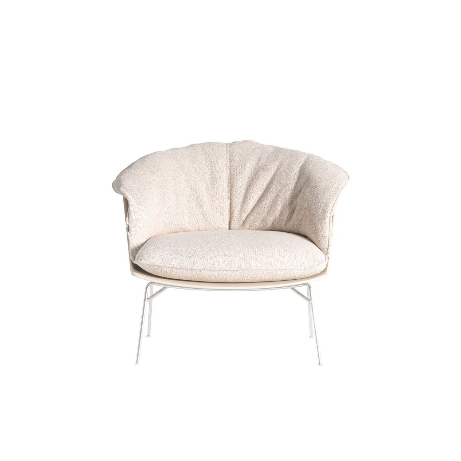 Moon Armchair Fabric Upholstered - Armchair with shell in baydur600 matt lacquered in the colors red brick, beige and glossy lacquered in black color. Seat cushion with removable fabric or leather cover. Supporting structure in steel wire in polished chrome finish. | Matter of Stuff