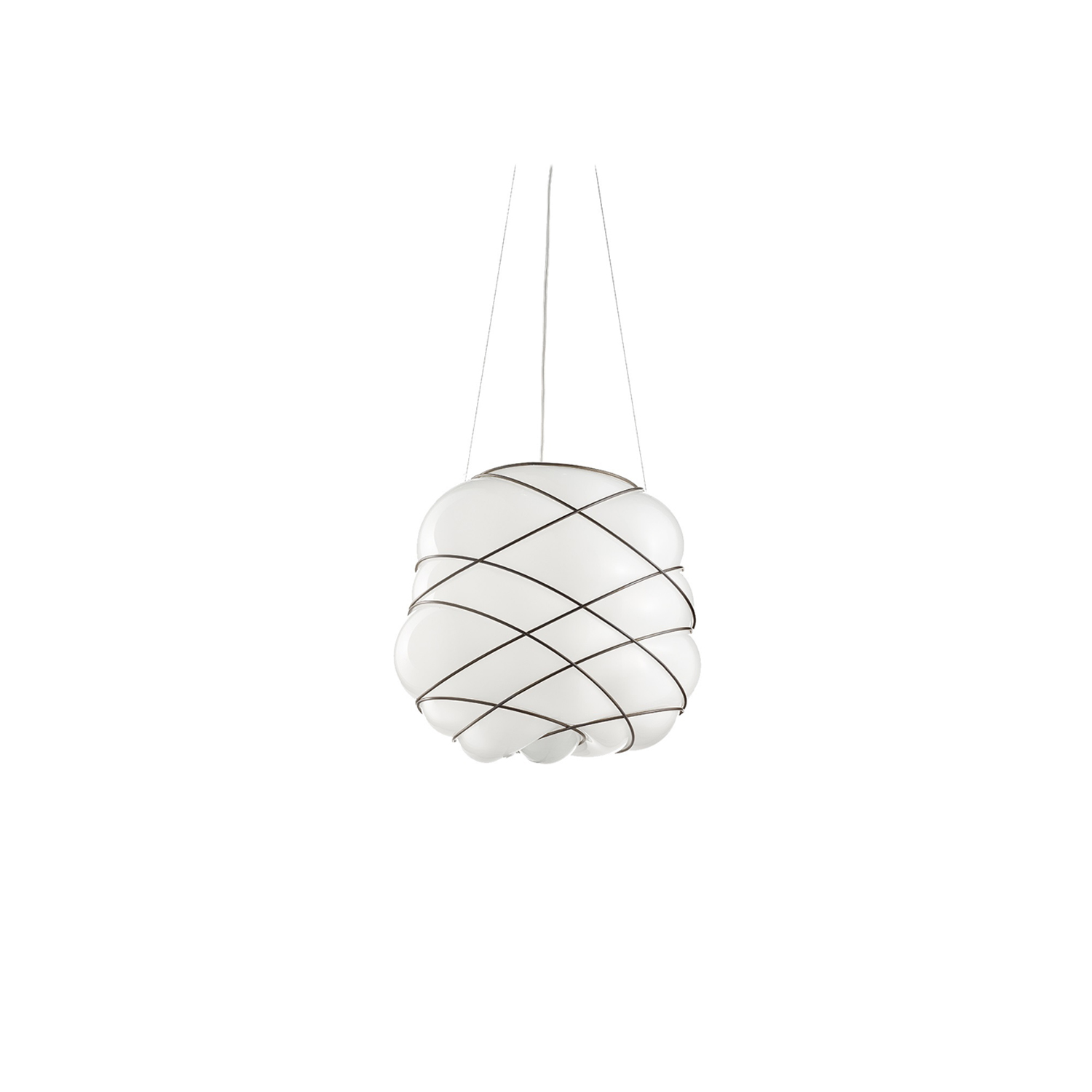 Nuage Pendant Light - The form for this striking and beautiful light was created using hand made blown glass suspension techniques of the old Murano glass masters. It almost looks like the glass is trying to escape the wire structure which creates a unique and organic shape. This light has a white smooth glass finish and is perfect for adding personality to a room. 250V Input. 1X E27 max 100W ~ IP20 Bulbs  | Matter of Stuff