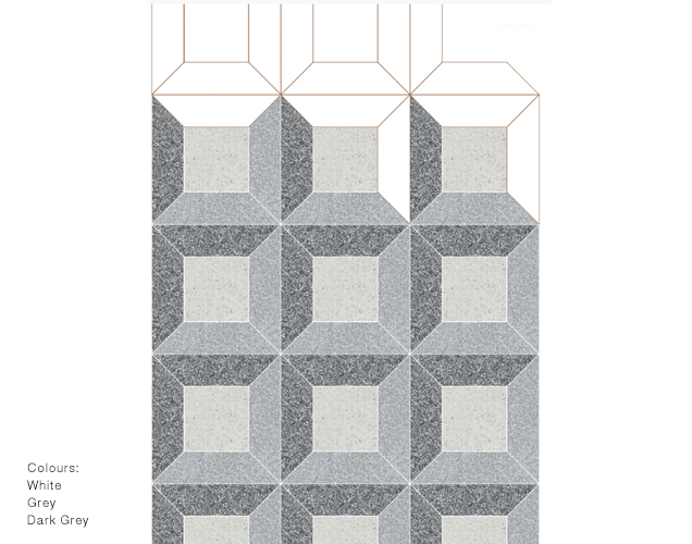 Domus 1 - MODULO is a design system based on marble graniglia tiles consisting of 9 polygonal modules, 6 linear modules and 3 shaped modules. It is a re-visitation with a contemporary taste of Venetian terrazzo floor tradition. This is not only a design-versatile collection, but also a high decorative value collection that matches perfectly with different interior design styles.  The available palettes are two, each standing out for the range of colours and the size of the marble elements included in the mix. Mix/L is rather chromatically versatile and the marble elements are smaller. In turn, Tone/XL stands out for uniform hues and greater marble chips' size. The material is supplied in Matt finish. Domus 1 is a composition made of the following modules: Shaped 60/30x15 cm and Straight 30x30 cm  Colours and formats are fully customisable to meet any request.  | Matter of Stuff