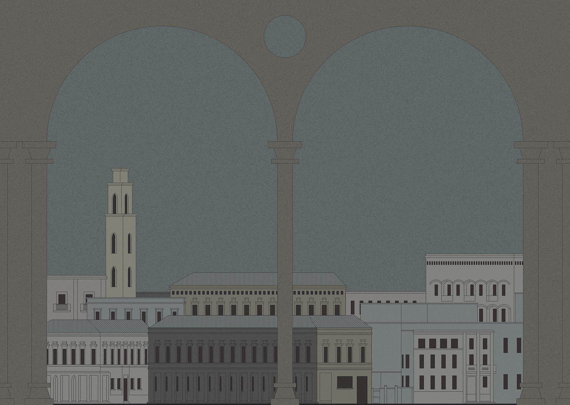 """Città ideale - Metaphysical atmosphere, soft colors, elegant lines. Personal interpretation of the Renaissance studies conducted on the geometric construction of the utopian cities, """"The ideal cities"""" project deliberately renounces to using the perspective and the illusional third dimension, to commit to the two-dimension structure typical of the Byzantine and pre-Giotto paintings. The result is a domestic fresco of a nearly suspended urban landscape. 