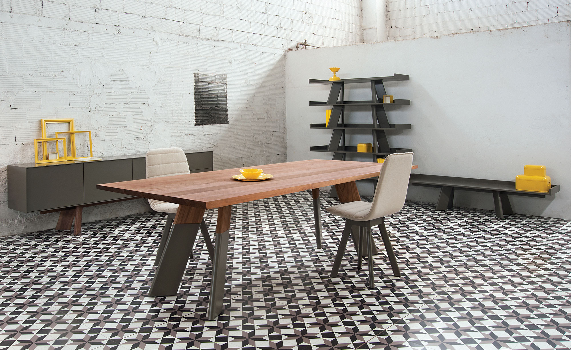 Alhambra 001 A Dining Table - <p>Table in various sizes with straight edge top, legs in two<br /> sections or unique section, lacquered or solid wood.</p>  Cement and Maxfine Top are available for all sizes | Matter of Stuff