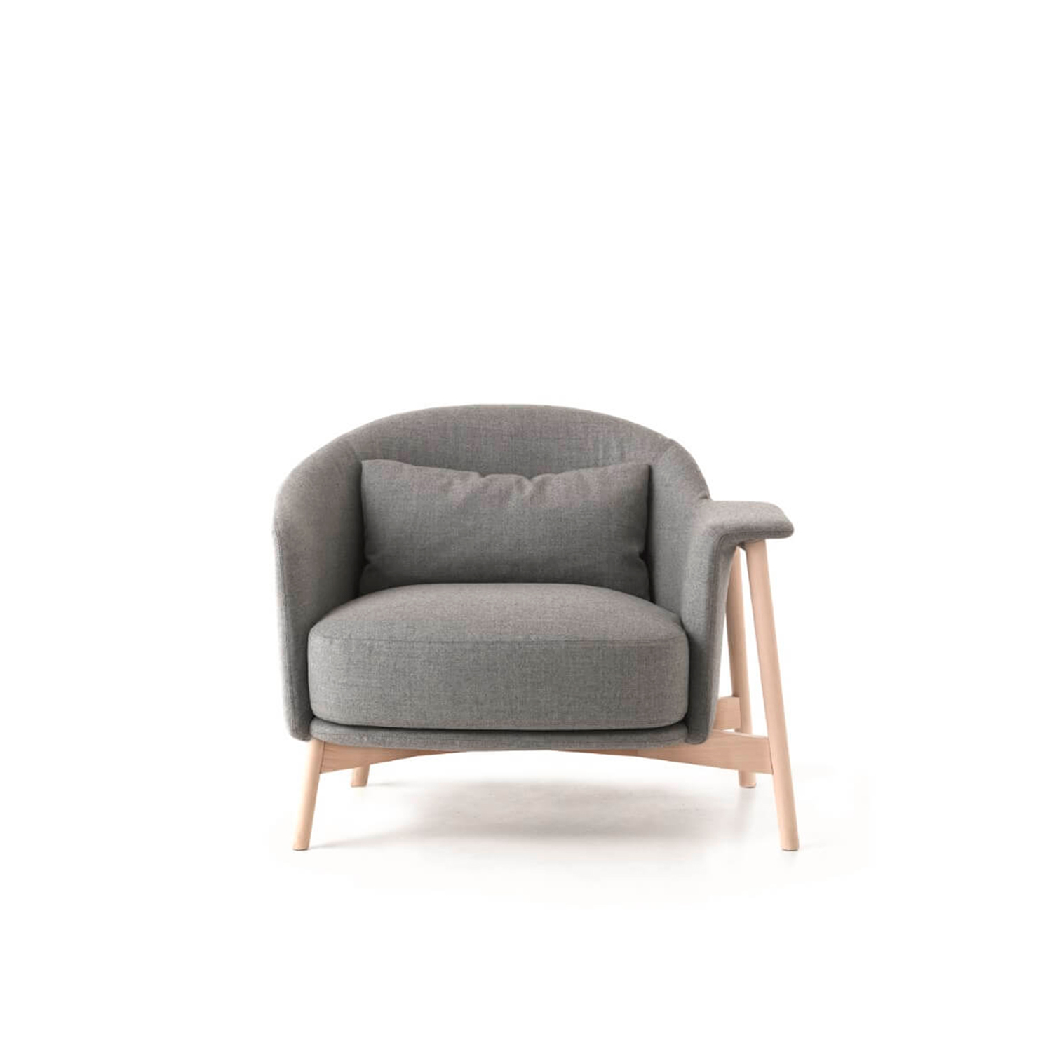Kepi Lounge Armchair with Wooden Feet - The Kepi armchair's sober design and vaguely Nordic look are softened by rounded lines that add character and improve comfort. Its clean design and nonchalant elegance make it perfect for the home and contract environments. The structure in bleached ash wood becomes its characteristic trait. The base is also available in varnished tubular stainless steel. The collection also includes a two-seat sofa and a pouf. Fully removable covers.  Additional removable cover is available, please enquire for prices.  Materials:  Structure in plywood with variable-density polyurethane foam (75IP and 25IM) covered with velfodera coupled with resin 150 gr/sqm. The armchair has got feet in ash or iron painted rod 18 mm. The seat cushion is in variable-density polyurethane foam (40IM and 25IM) covered with fine velvet coupled with dacron 280 gr/sqm. The lumber cushion is mae in 100% cotton fabric and padded with washed and sterilized goose down. | Matter of Stuff