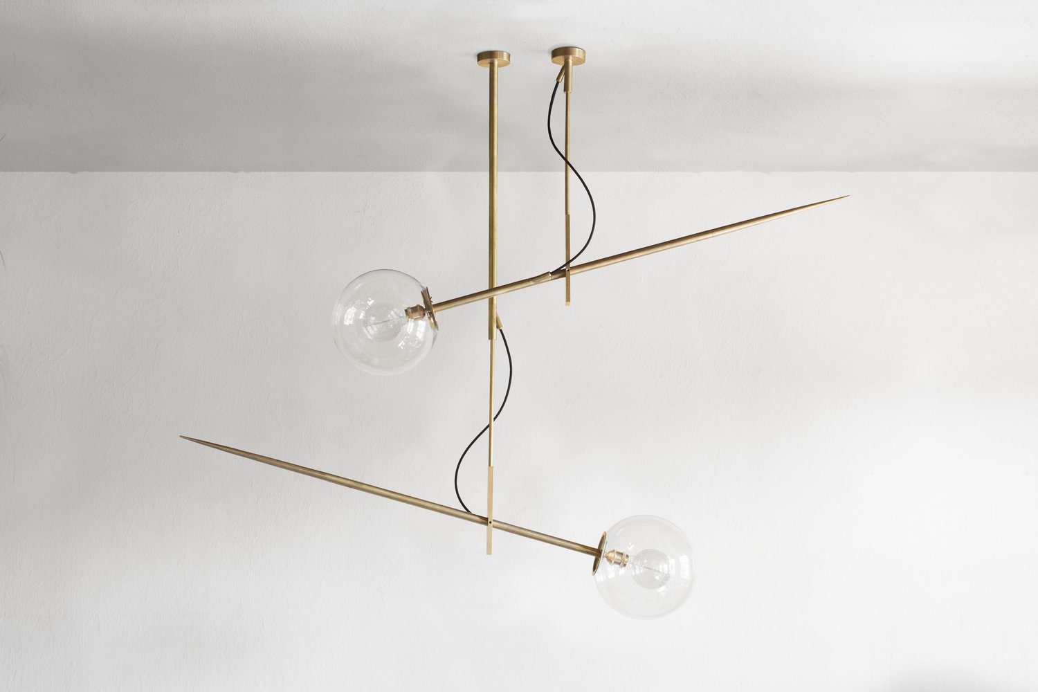 Hasta Hanging Lamp Large - <p>Brass ceiling lamp with a glass shade. The elements are made of full brass. The supplied cable is available in two colors, black or red. Best matches the decorative bulb. Possible to order the lamps of different heights. The lamp has the certificate. Serial number is engraved on the lamp. Hand crafted.</p>  | Matter of Stuff