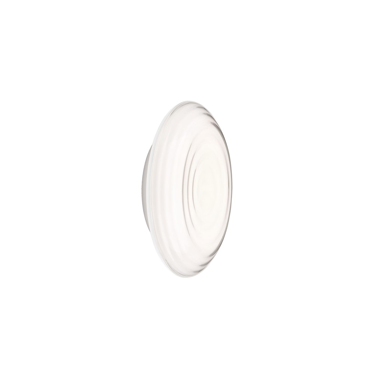 Ripls Wall Light - The fixture emits diffused light. The front consist of a concave clear front with ripples like rings in water. The ripples refract light in the front creating a subtle change of appearance depending on viewing angle. The concave form outline the refracting creating a higher intensity light towards the center fading off toward the edges. A diffuser offset sits deep in the fixture creating a sense of depth in the front. A slim housing creates the appearance of a floating disk while perforations in the opaque housing allows indirect light to create a halo around the fixture. | Matter of Stuff
