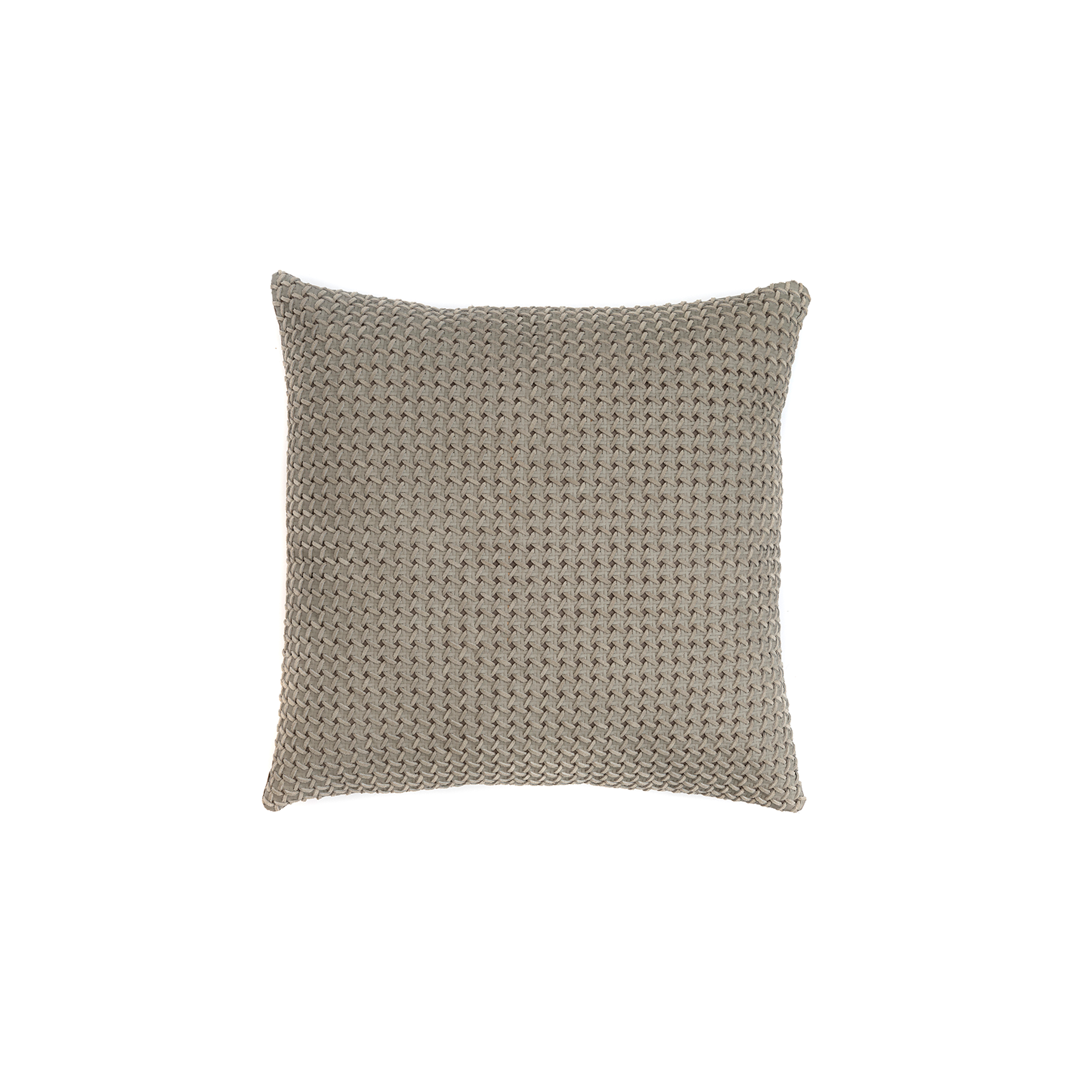 Mini Catavento Woven Suede Leather Cushion Square - The Mini Catavento Woven Suede Leather Cushion is designed to complement an ambient with a natural and sophisticated feeling. This cushion style is available in pleated leather or pleated suede leather. Elisa Atheniense woven handmade leather cushions are specially manufactured in Brazil using an exclusive treated leather that brings the soft feel touch to every single piece.   The front panel is handwoven in leather and the back panel is 100% Pes, made in Brazil.  The inner cushion is available in Hollow Fibre and European Duck Feathers, made in the UK.  Please enquire for more information and see colour chart for reference.   | Matter of Stuff