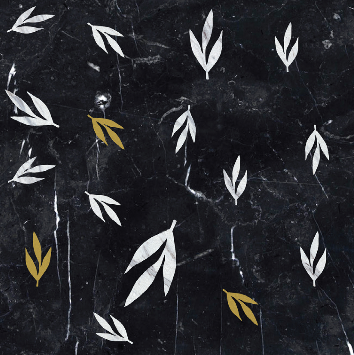 Leaves White and Brass - Ma.C.S. combines artisan crafted production with industrial processing powered by numerical control machines. This is demonstrated by the new marble inlay covering collection. The research aims to integrate the classical idea of marble inlay (combined in some cases with other materials such as wood and metal), with shapes, compositions and innovative, charming designs. All of that is rigorously made in Italy.  The 2017 collection is composed of tiles, large marble slabs and other architectural solutions. The design is characterised by both serial geometric sequences and eclectic surfaces, inspired by nature shapes and dreamlike dimensions.  The proposed coverings, both horizontal and vertical ones, are fully customizable in size and colors, according to client needs. | Matter of Stuff