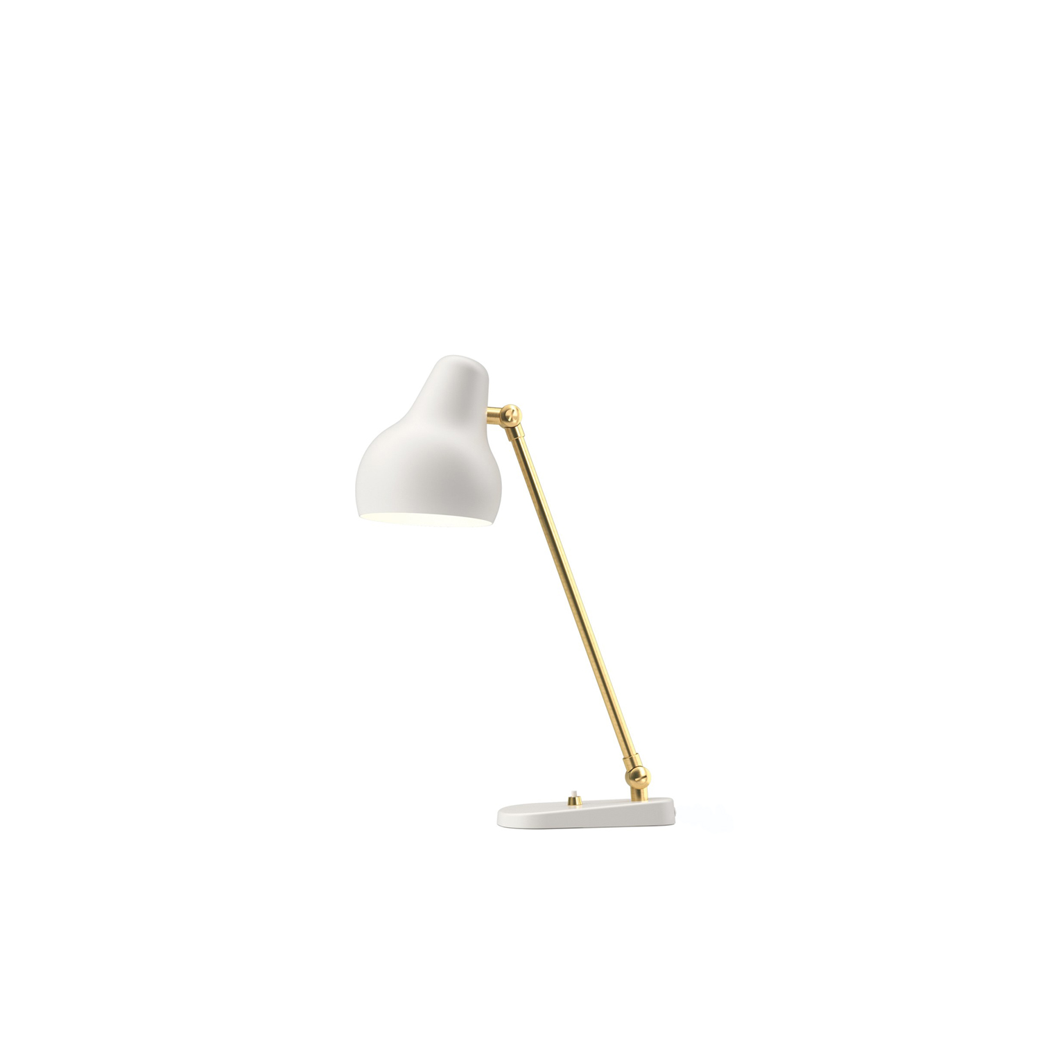 VL38 Table Lamp - The fixture emits downward directed light. The angle of the shade can be adjusted to optimize light distribution. The shade is painted white on the inside to ensure a soft comfortable light.  | Matter of Stuff