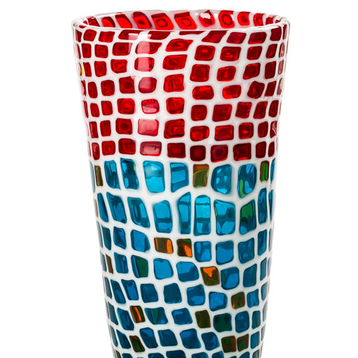 "Ravenna Vase - This exclusive vase is a limited edition designed for Ravenna Festival 2015 of 49 art pieces in Arabic numbers and 49 art pieces in Roman numerals. The blown glass is handcrafted with the ""murrine"" technique, the trademark of Venetian and Murano glassmakers with red, turquoise, amber, and white glass rods arranged like mosaic tiles and melted together by master glassblowers.