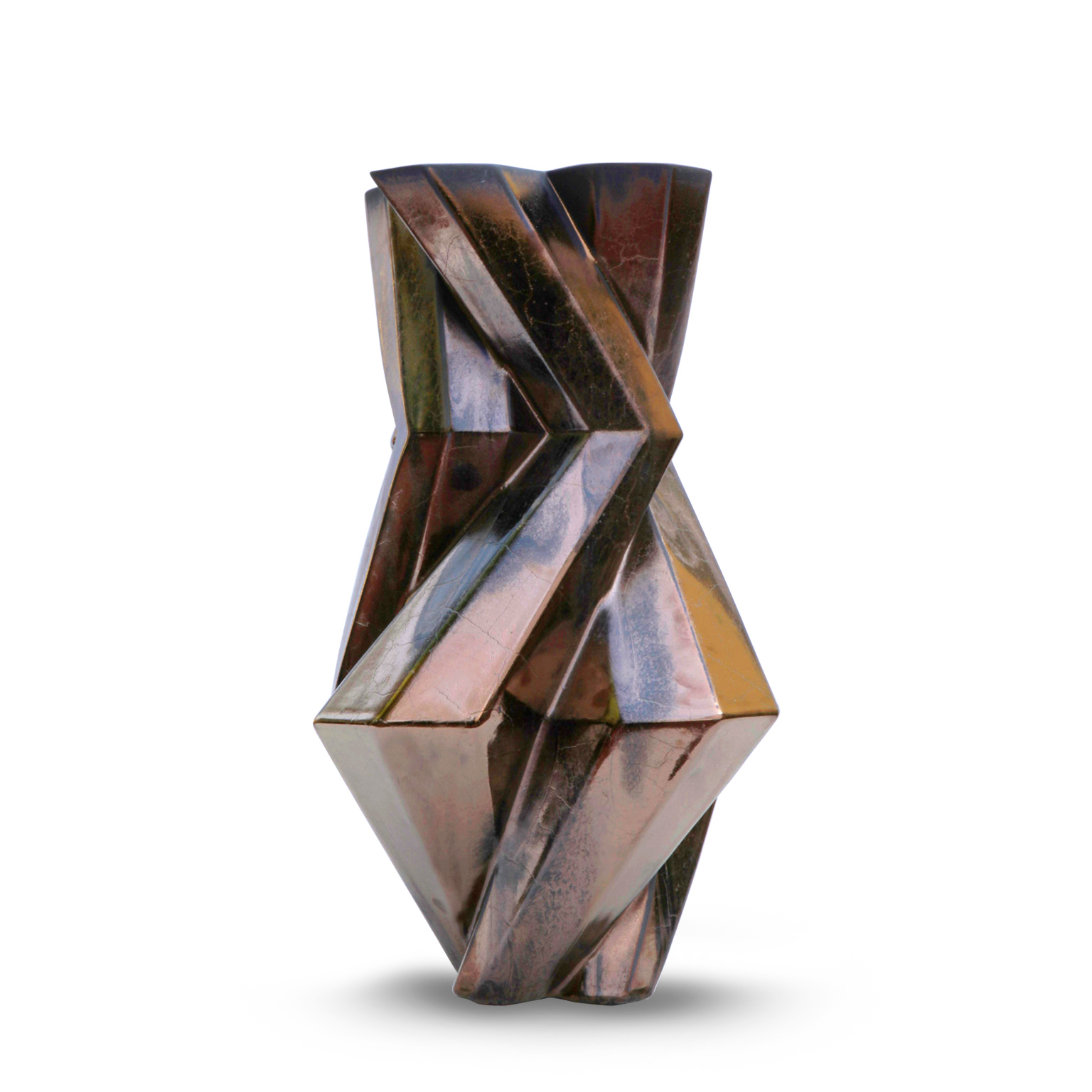 Fortress Castle Vase Bronze - <p>Designer Lara Bohinc explores the marriage of ancient and futuristic form in the new Fortress Vase range, which has created a more complex geometric and modern structure from the original inspiration of the octagonal towers at the Diocletian Palace in Croatia. The resulting hexagonal blocks interlock and embrace to allow the play of light and shade on the many surfaces and angles. There are four Fortress shapes: the larger Column and Castle (45cm height), the Pillar (30cm height) and the Tower vase (37cm height). These are hand made from ceramic in a small Italian artisanal workshop and come in three finishes: dark gold, bronze and speckled white.</p>  | Matter of Stuff