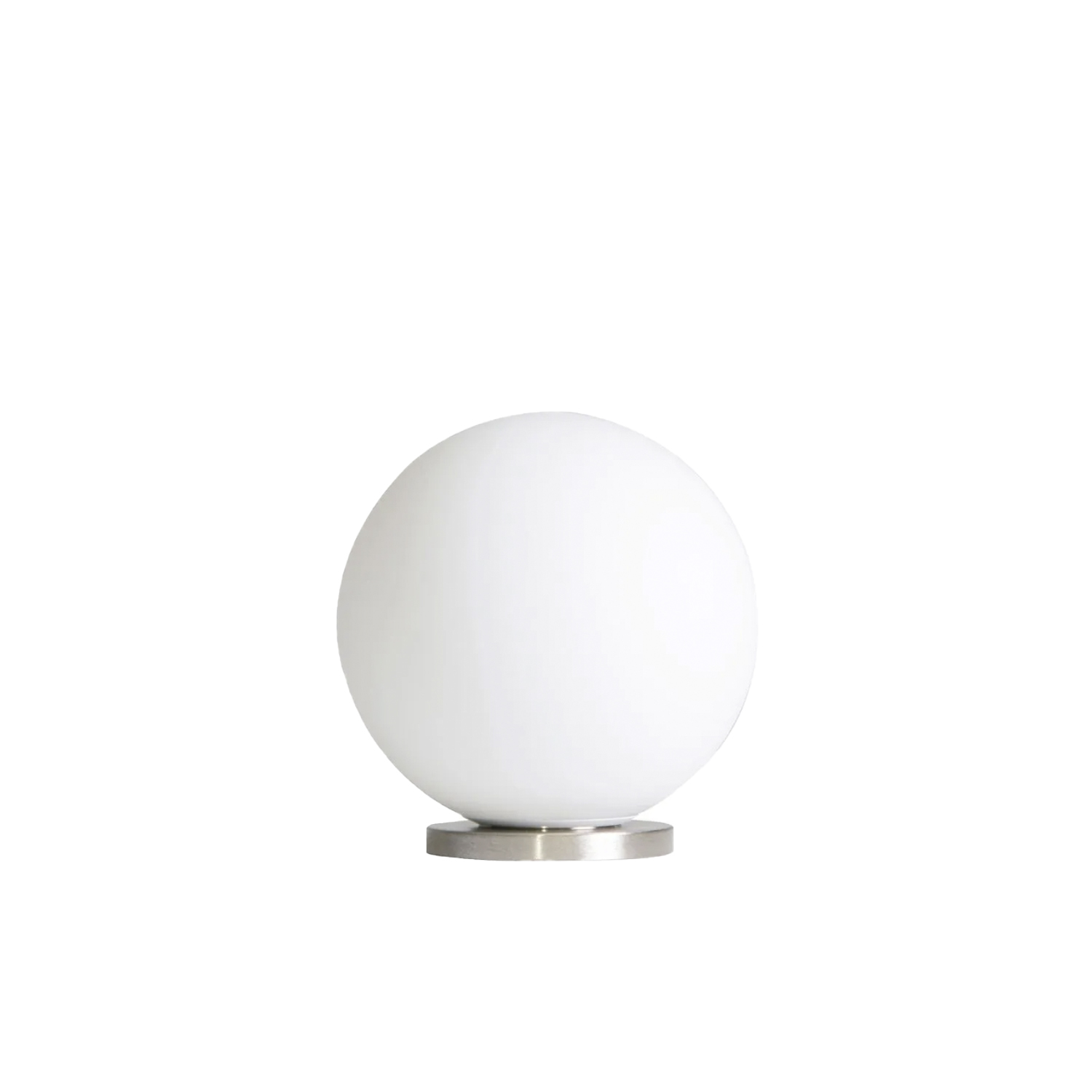 Pallina Table Lamp - The perfection of glass and sphere to create the most essential object of the collection. A must-have for every space of the house, inspired by the Italian theatre and Broadway musicals from 40's and 50's. Simplicity and seriality. Pallina. One, no one, one hundred thousand.  Table lamp with diffused light not dimmable. Galvanized metal frame. Diffuser made of opalyne blown glass with satin-finish. Transparent power cable, switch and plug. European two-pole plug. Bulb not included. | Matter of Stuff