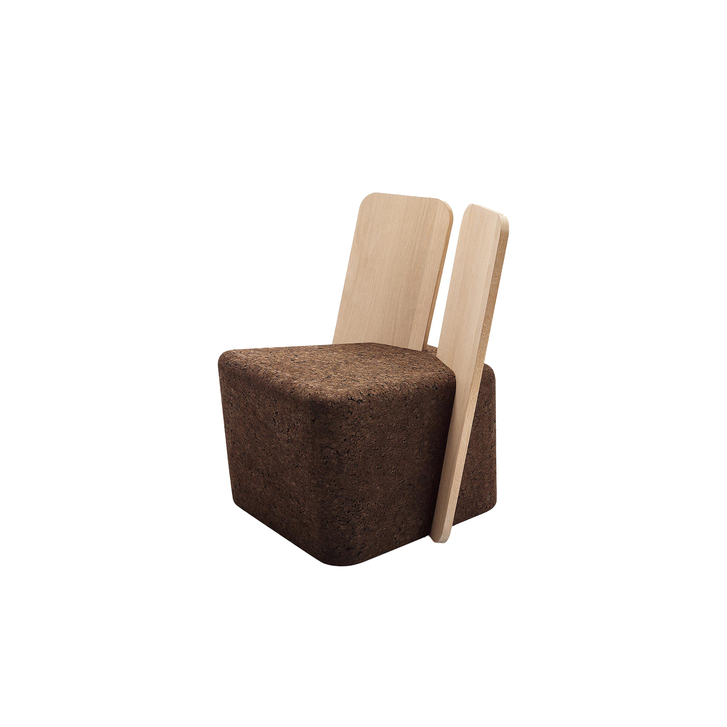 """Cut Lounge Chair - It is only used cork of the branches (falca) for the manufacture of cork granules. These are block clusters in autoclave, being 100% natural process, without use of additives. Technology, developed by Sofalca, consists of injecting water vapour through the pallets that will expand and agglutinate with the resins of the cork itself. This """"cooking"""" gives also dark colour to the agglomerated cork, like chocolate. In the production of steam I used biomass, obtained on milling and cleaning the falca, what makes it truly ecological production and without waste, 95% energy self-sufficient. As a super-material, cork offers so many advantages, because in addition to its excellent thermic, acoustic insulation and anti vibration characteristic, it is also a CO2 sink playing a key-role in the environment. 