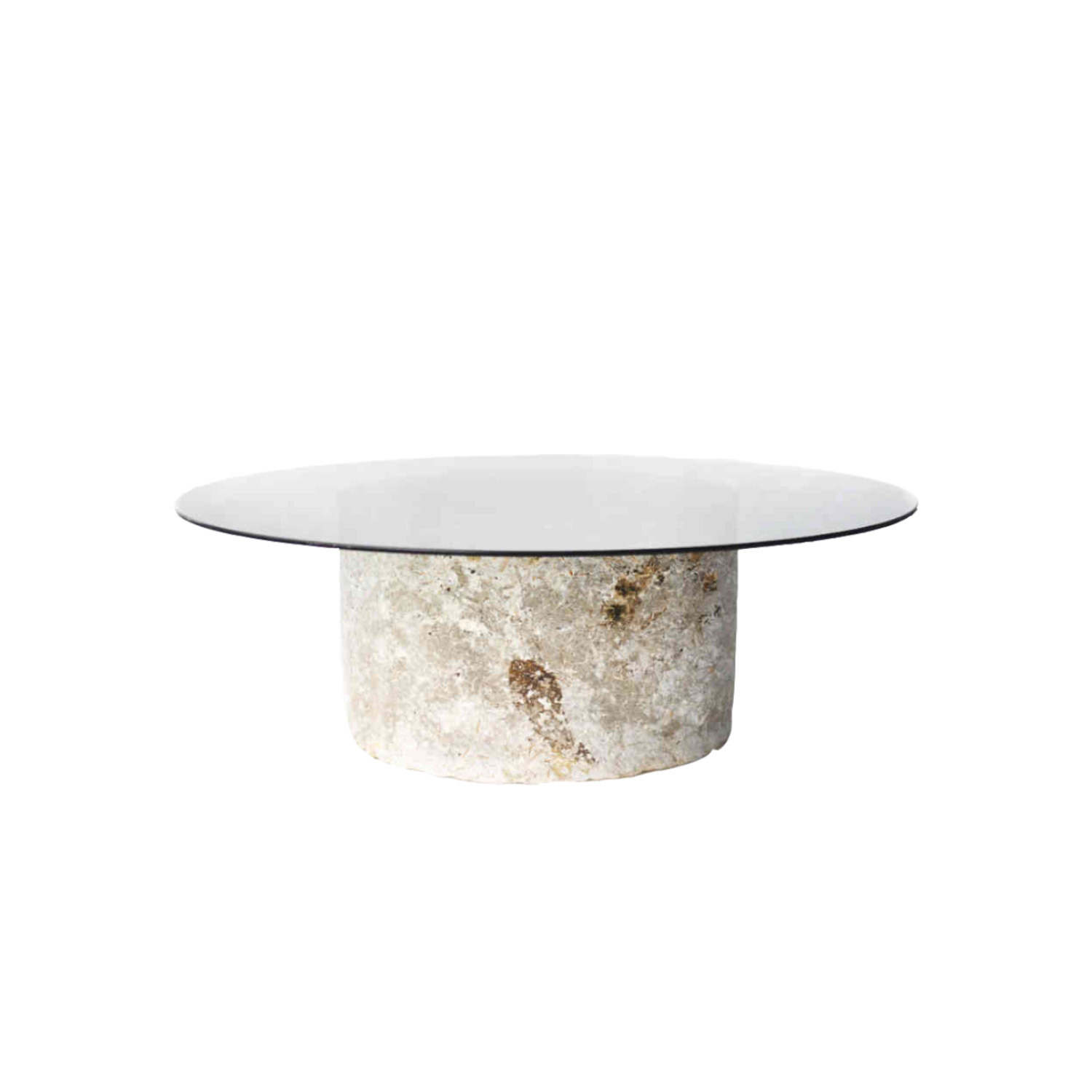 Mycelium Table - Mycelial Table, grown on demand. The glass tabletop is resting on a strong grown mycelial ring. The glass table plate has a diameter of 90cm and a thickness of 8 mm. The wall thickness for the Mycelium base for the table is  7cm. The table is available in different heights and the glass top can be purchased separately. | Matter of Stuff