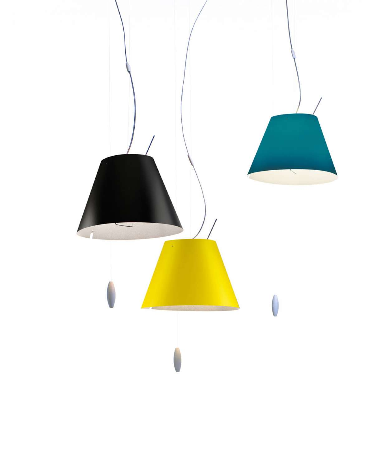 Costanzina Suspension Lamp - The colored polycarbonate shade adds personality to any setting. The control rod is positioned close to the light source. A counterweight provides easy height adjustment.   | Matter of Stuff