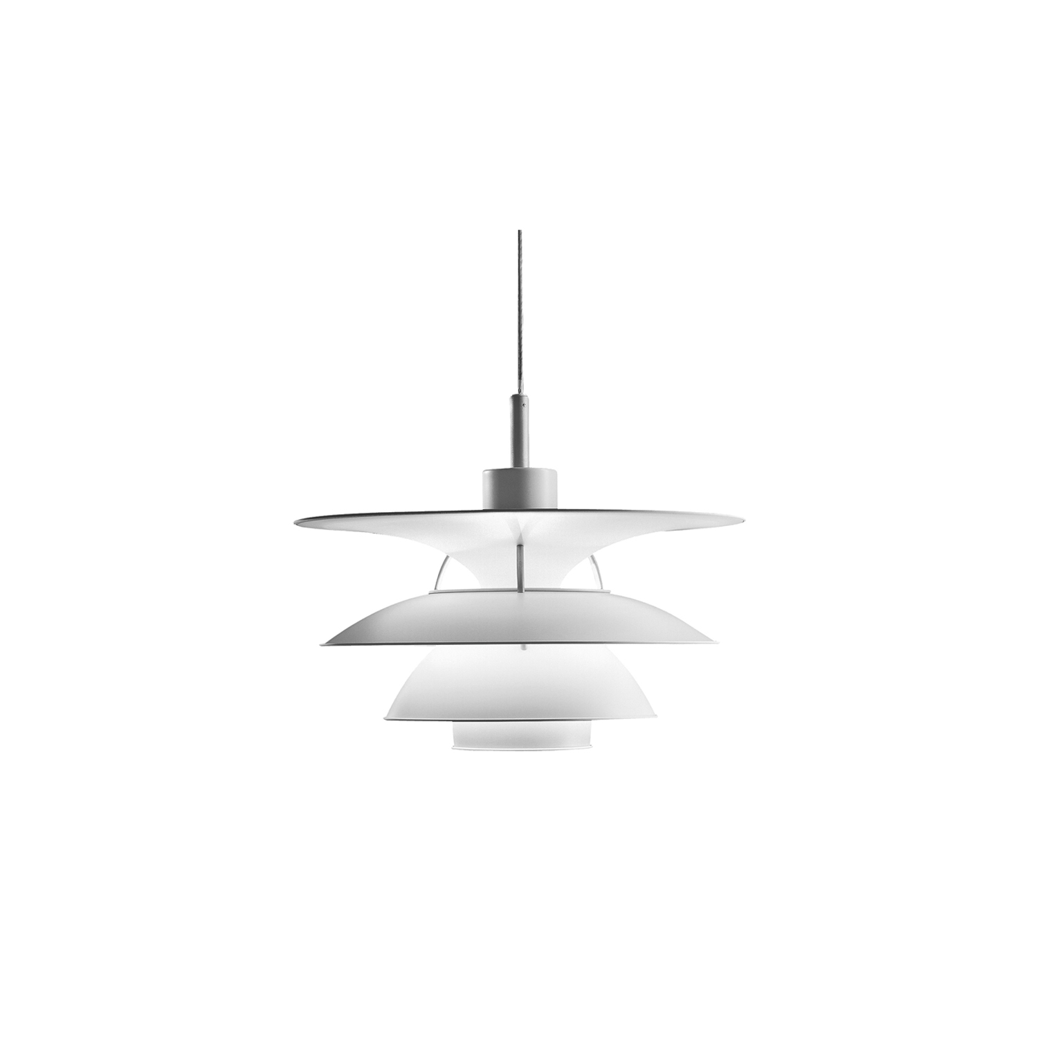 PH 5-4½ & PH 6½-6 Pendant Light - The trumpet-shaped top shade on the fixture provides illumination of the area above the three shades, which primarily direct the light downwards. A base reflector and a blue glare ring protect against glare from all angles. The strongest light is directly under the fixture. The shades have a matt white painted finish to ensure very comfortable lighting. | Matter of Stuff