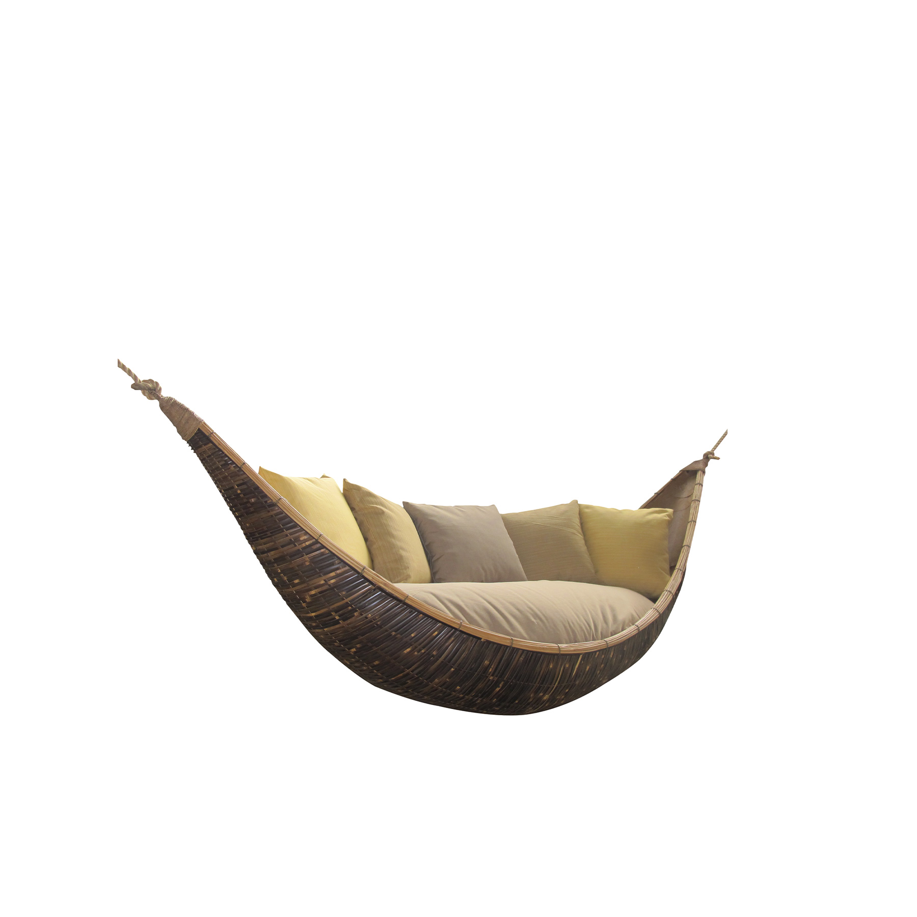 Swing Crescent - Our bamboo is carefully selected from the river valleys and mountains of the islands of Bali and Java in Indonesia. We harvest from clumps that, once established, grow a new generation of shoots each year. It takes just a few months for a new bamboo shoot to reach its full height, and in three years it becomes timber ready for harvest. Our craftsmen combine their traditional skills with modern carpentry techniques to produce our all-bamboo furniture. They transform poles of bamboo into floors, walls, baskets, railings, beds, chairs, kitchens, ceilings, stairs, and tables. From customised pieces to interior designs, our furniture brings bamboo's unique warmth into any space, across the world. IBUKU's team of designers create innovative, hand-made masterpieces including stools, chairs, tables, lounges and beds. Our bespoke interior basket structures, screen panels and sculptures bring a sense of wonder into the everyday. IBUKU takes great care to ensure that only the mature poles are harvested, creating an incentive for the bamboo farmers to allow the younger shoots to grow to maturity for subsequent years' harvests.    Matter of Stuff