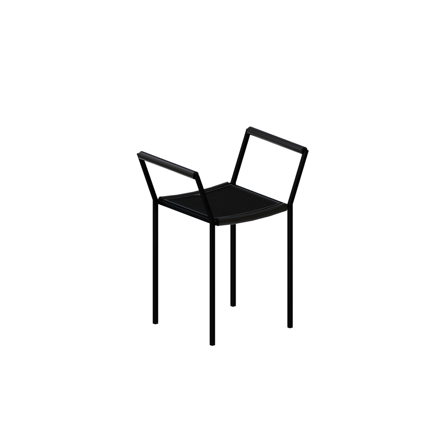 Savonarola Chair - This modern chair was designed in Italy by Maurizio Peregalli. It features a square seat and a sleek all-black steel square frame with armrests. The frame is embossed black and the seating is made from thousand points rubber. The armrests are wrapped in black extruded rubber for added comfort. 