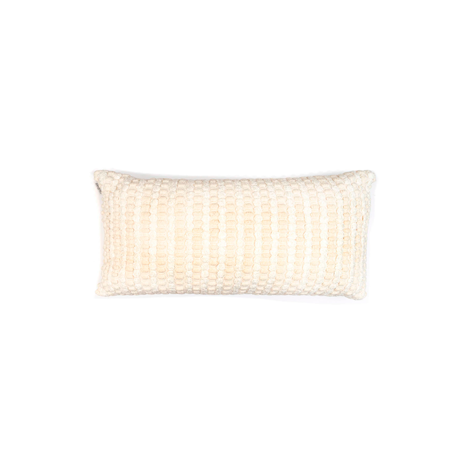Estrela Branca Cotton Cushion Small - The Flame Sustainable Collection is made from a selection of organic cotton fibres, eco-friendly, hand-woven or elaborated using traditional hand-loom techniques. Carefully knitted within a trained community of women that found in their craft a way to provide their families.  This collection combines Elisa Atheniense mission for responsible sourcing and manufacturing. Each piece is meticulously hand-loom by artisans who practised methods with age-old techniques. With a minimal electricity impact, each item crafted is therefore unique and exclusive. Weavers and artisans are the ultimate lifelines of Elisa Atheniense Home Products.  The hand woven cotton, washable cushion cover is made in Brazil and the inner cushion is made in the UK.   | Matter of Stuff