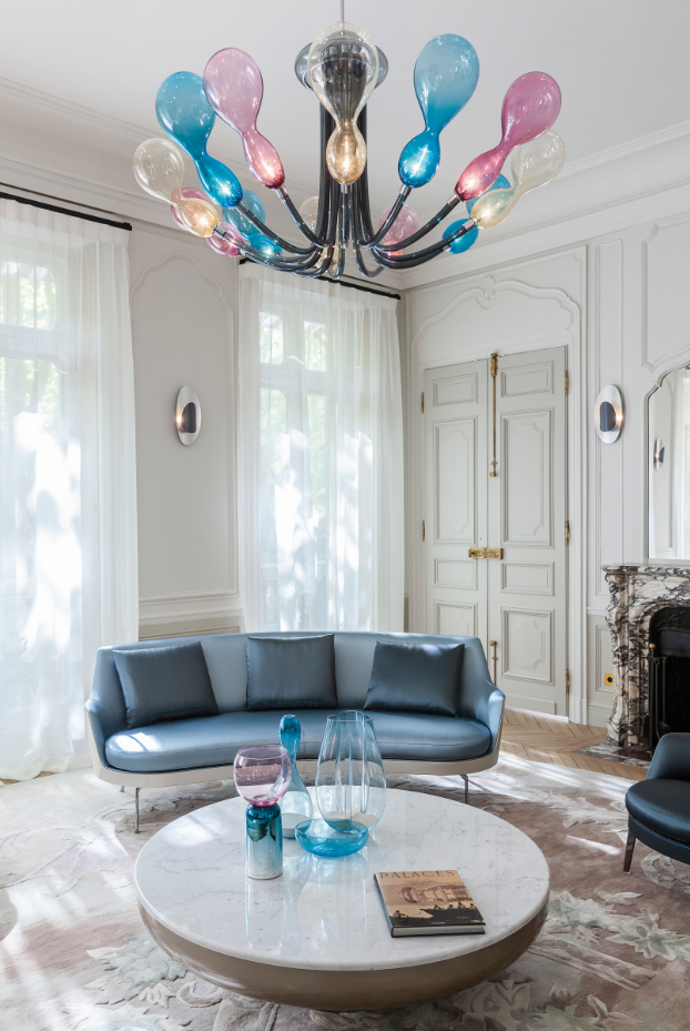 Blob Chandelier - The lighting parts of Blob seem to be light balloons suspended in the air, a fresh look for this new generation chandelier designed by Karim Rashid for Purho proposed in a kaleidoscopic mix of colours. Available in 8, 12 or 16 lights, Blob diffuses a homogeneous and delicate light emphasized by the special colours of the glass. As for the entire range of products offered by the company, Blob is also available for customisation thanks to the colour variations of the colour chart.  Please enquire for colour options and customisation. | Matter of Stuff