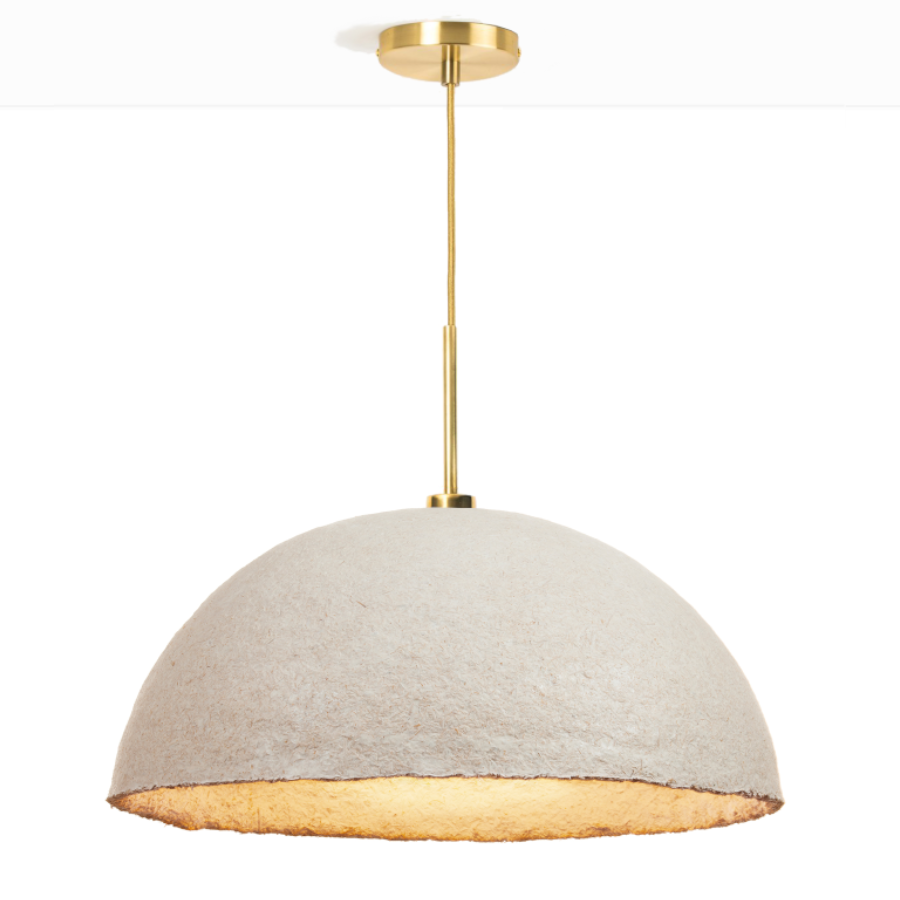 MushLume Hemi Pendant Light - These organic lampshades by Grown Bio take your lighting design to the next level! The dome is fully biodegradable and is made of mycelium. Over the period of a couple of days, the mycelium binds together the natural fibers. Your lampshade will thus literally be grown on demand and will entirely unique. Each pendant comes with a ceiling cap, a textile cable of 200cm and an E27 fitting. These necessities come in either black, white or brass and might slightly differ from the photo.