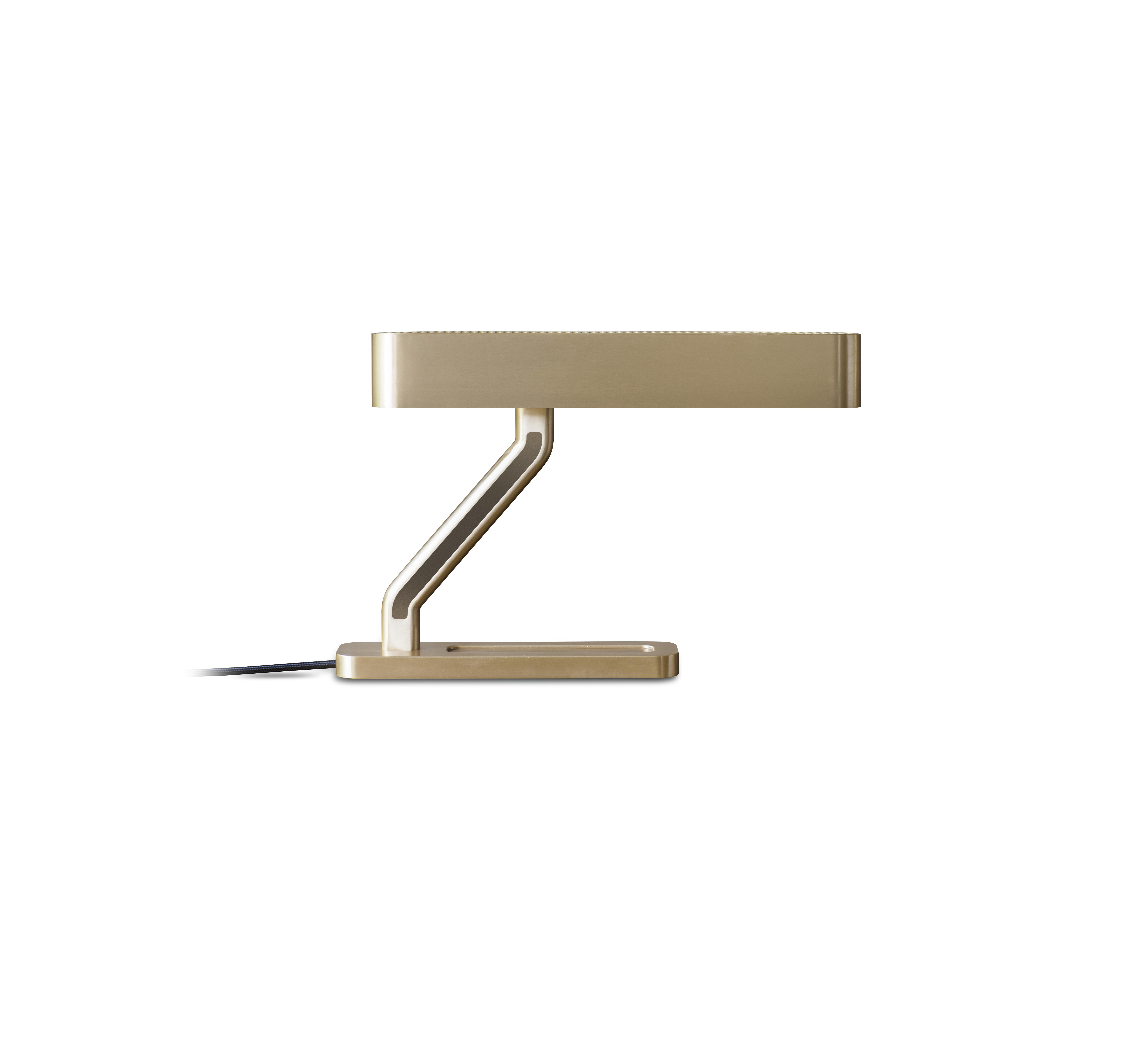 Colt Table Lamp - A machined brass grill lends an industrial feel to the sleek Colt Table Light. Featuring bronze inserts on the arm and opal diffusers for a soft, warm light, an inbuilt pen tray highlights Bert Frank's signature attention to detail.    | Matter of Stuff
