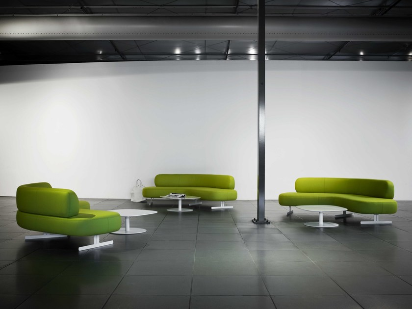 Stone Modular Sofa - Stone is a new system of modular sofas with simple, easy shapes but rich in elements and with enough assembling choice to fulfill the needs of the widest range of public areas. Soft and comfortable, they draw upon the roundness of stones honed by flowing water, and come in a wide range of upholstery. Stone sofas are available in many variants and can either stand alone or set in cleft to enhance their elegance, are available in two heights: one is suitable for hotel contracting, waiting rooms and public areas while the other is more suited for catering areas, bars and cafes. The system is also complemented by a full set of matching tables: free-standing or end-tables, with twoT-shaped legs or a single central base, in lacquered mdf, full-colour or laminate. | Matter of Stuff