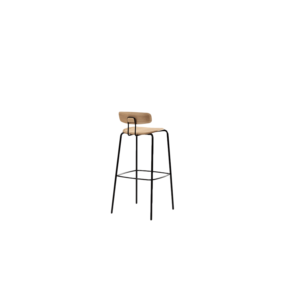 Okito Ply Backrest Stool - OKITO PLY BAR – reduction in wood & steel. The bar chair OKITO PLY BAR is available in seat height 80 cm. The focus therein lies on the reduced use of plywood and steel. This makes the barstool not only visually light, but it is also. The backrest is attached to the chair without any visible screw connections and, thanks to the spring-loaded support, ensures high seating comfort. The molded wood elements are also ergonomically shaped and available in different materials. Despite its lightness, the OKITO PLY BAR is extremely stable and offers plenty of room for movement.  Okito Ply bar backrest stool is available in black lacquered beech, lacquered oak,  black stained oak and lacquered American walnut. Available in colour stained finish upon request.  The seat can be upholstered.  For upholstery and colour stained oak options, please refer to the catalogue.    | Matter of Stuff