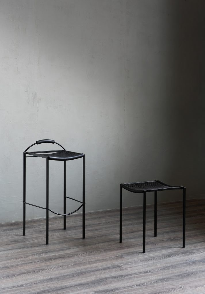 Sgabello Basso - The Sgabello Basso is the smaller variation to the Sgabello Alto. This stool was also designed in 1984 by Maurizio Peregalli. This elegant and functional stool has many of the same materials and finishes as the Alto. It features a steel tubular frame embossed black and the seat is crafted in thousand points rubber with black extruded rubber. This stool is also stackable.   | Matter of Stuff