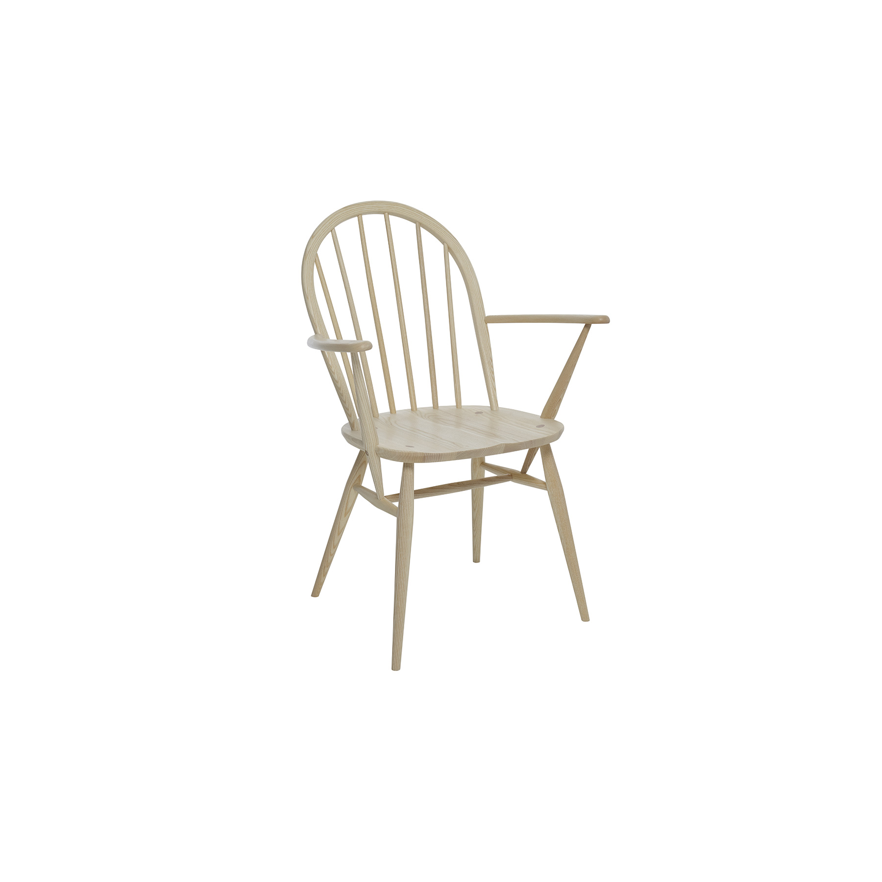 Originals Windsor Dining Armchair - The Ercol Originals are pieces of timeless and classic design that never date or show their age. It is furniture that is as relevant and as functional now as it was when it was created in the 1950s and 1960s. This furniture was designed by ercol's founder, Lucian Ercolani, who drew for his inspiration on the time proven local design and craft in the Chiltern Hills around where he lived and built his first factory in 1920 in High Wycombe. Using the strength of beech and the beauty of elm he carried this definition on into a huge variety of dining, kitchen, and school chairs and then extended the idiom into the low easy chair range epitomised by the 206 armchair and the studio couch. The beauty of the colour and the grain of the elm took Lucian on to use elm for the tables and cabinets of the Originals and the following Windsor range. The gracefully turned legs and spindle details are signature features of the traditional Windsor chair and help to create a wonderfully classic look in any room. Armrests provide added support so that you can enjoy your dinner in absolute comfort, whilst the contouring to the seat gives added comfort. The chair bow is steam bent from a single straight ash rail and then sanded and shaped to give its subtle and elegant profile. Traditional wedge joints, where the legs come right through the seat and a wedge is then inserted into a cut, before the leg stump is hand sanded flush with the seat, both provide a lovely design detail and a very strong joint.  Further strength is provided by the H-underframe. This Windsor ash dining chair will be finished in your choice from a selection of lacquer colours that both protects the timber, whilst enabling you to choose the look to match your style and décor.   | Matter of Stuff