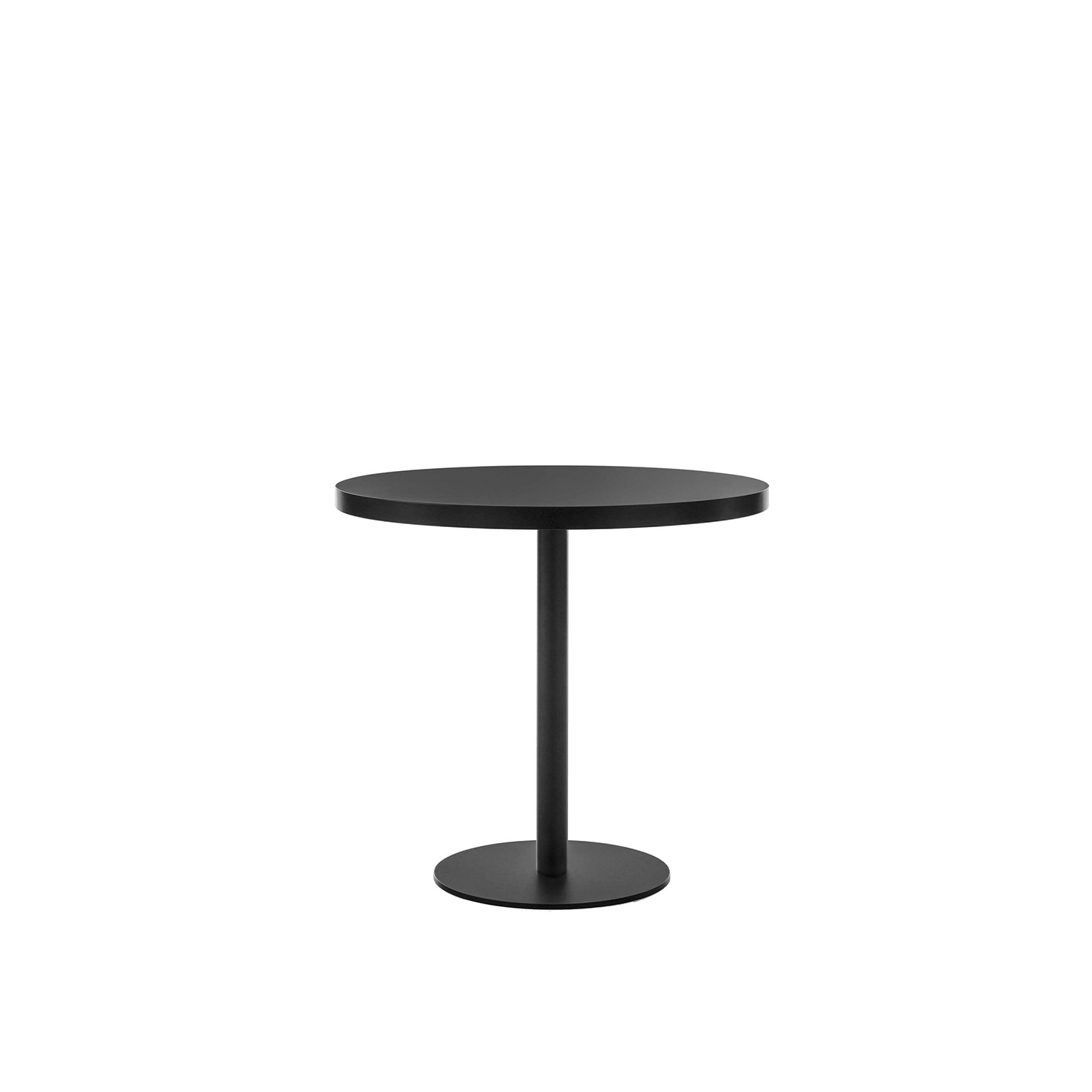 Porto Bar Table - Bar table with round post, top and base. In black painted metal or with bronze finish.