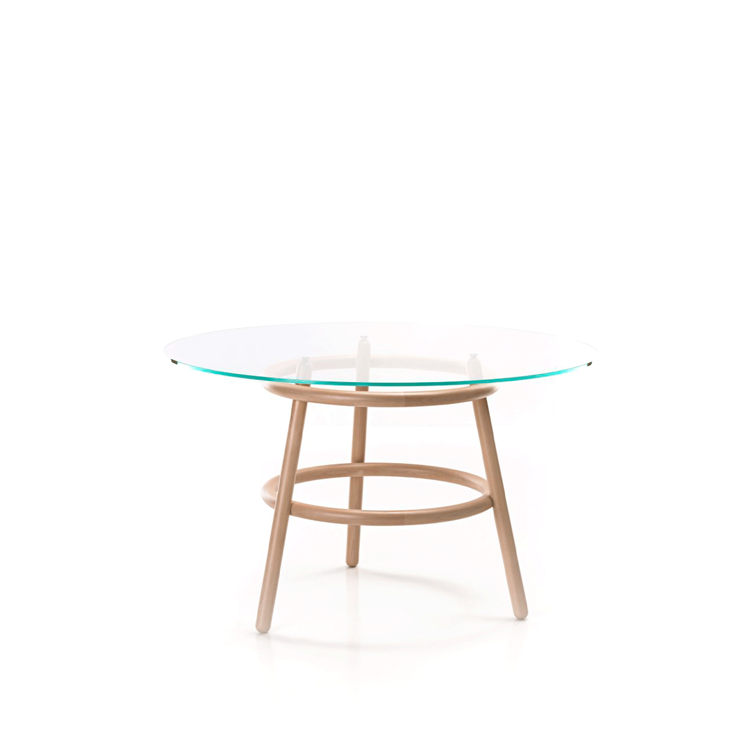 Magistretti 03 02 Table - Magistretti 03 02 is a table designed by the designer Vico Magistretti for Gebrüder Thonet Vienna. It has a support structure in solid beech with round section elements. The base is made up of three legs intersected by two hoops of the same diameter. The round, flush top is in a tempered polished glass.