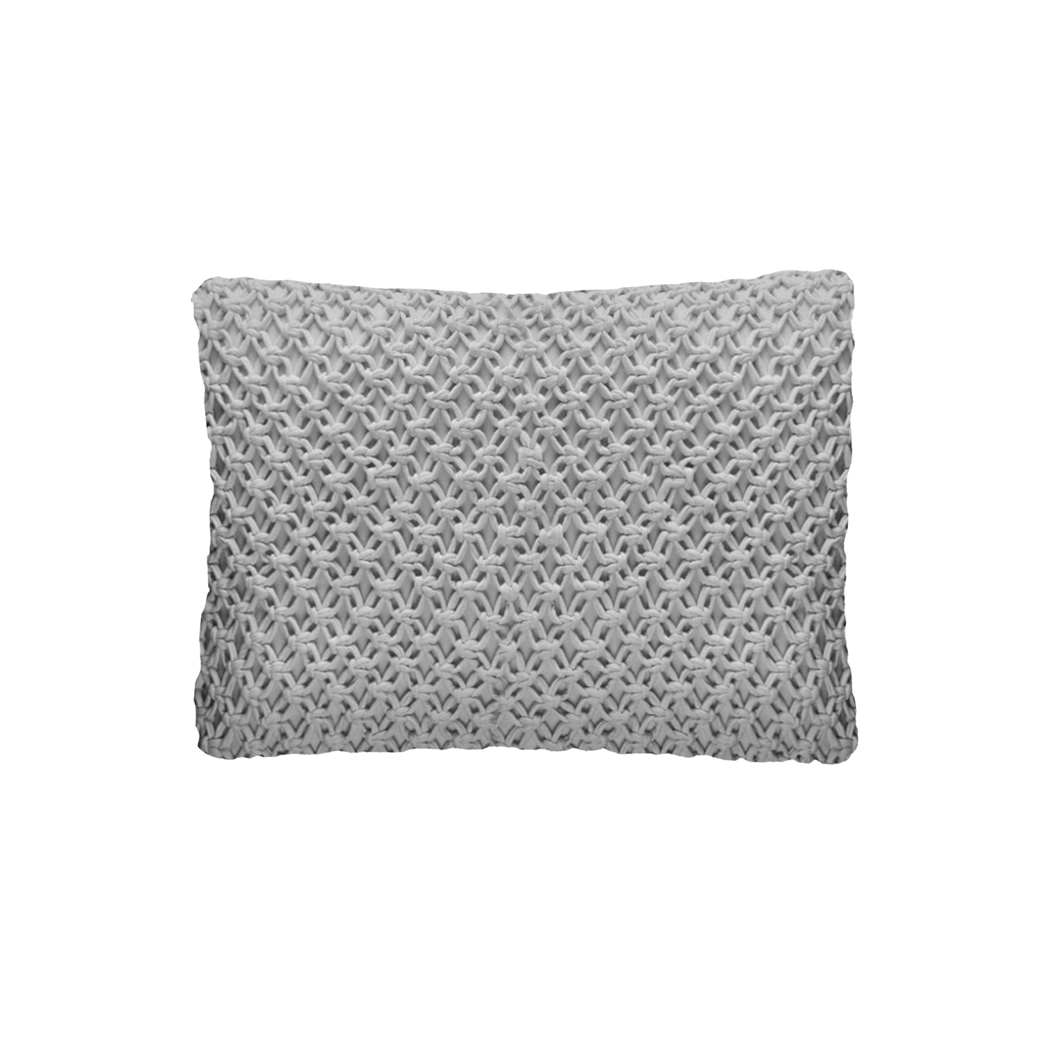 Macrame Knitted Cotton Cushion Large - The Macrame Line is carefully knitted within a trained community of women that found in their craft a way to provide for their families, each one of these cushions and throws is unique.  Elisa Atheniense Home soft indoors collection is made with natural cotton fibres, eco-friendly, handwoven or elaborated using traditional hand-loom techniques. The use of organic materials brings softness and comfort to the space. This collection combines their mission for responsible sourcing and manufacturing.  The hand woven cotton, washable cushion cover is made in Brazil and the inner cushion is made in the UK. All cushions come with Hollow Fibre filling. European Duck Feathers are optional upon request at an extra cost. Please enquire for more information and see colour chart for reference.   | Matter of Stuff