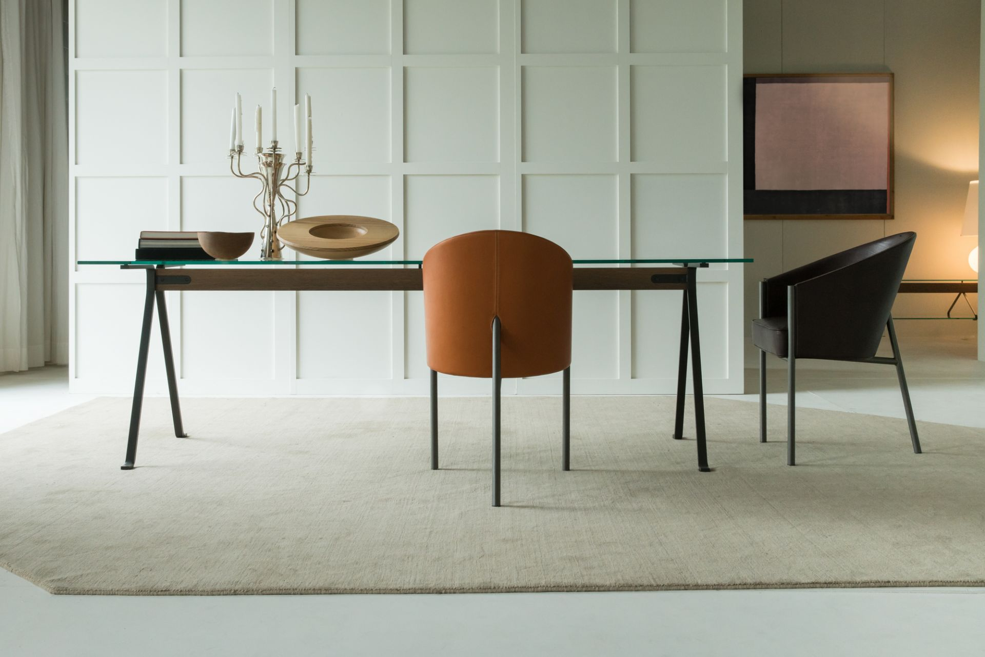 Costes Armchair Leather Upholstered
